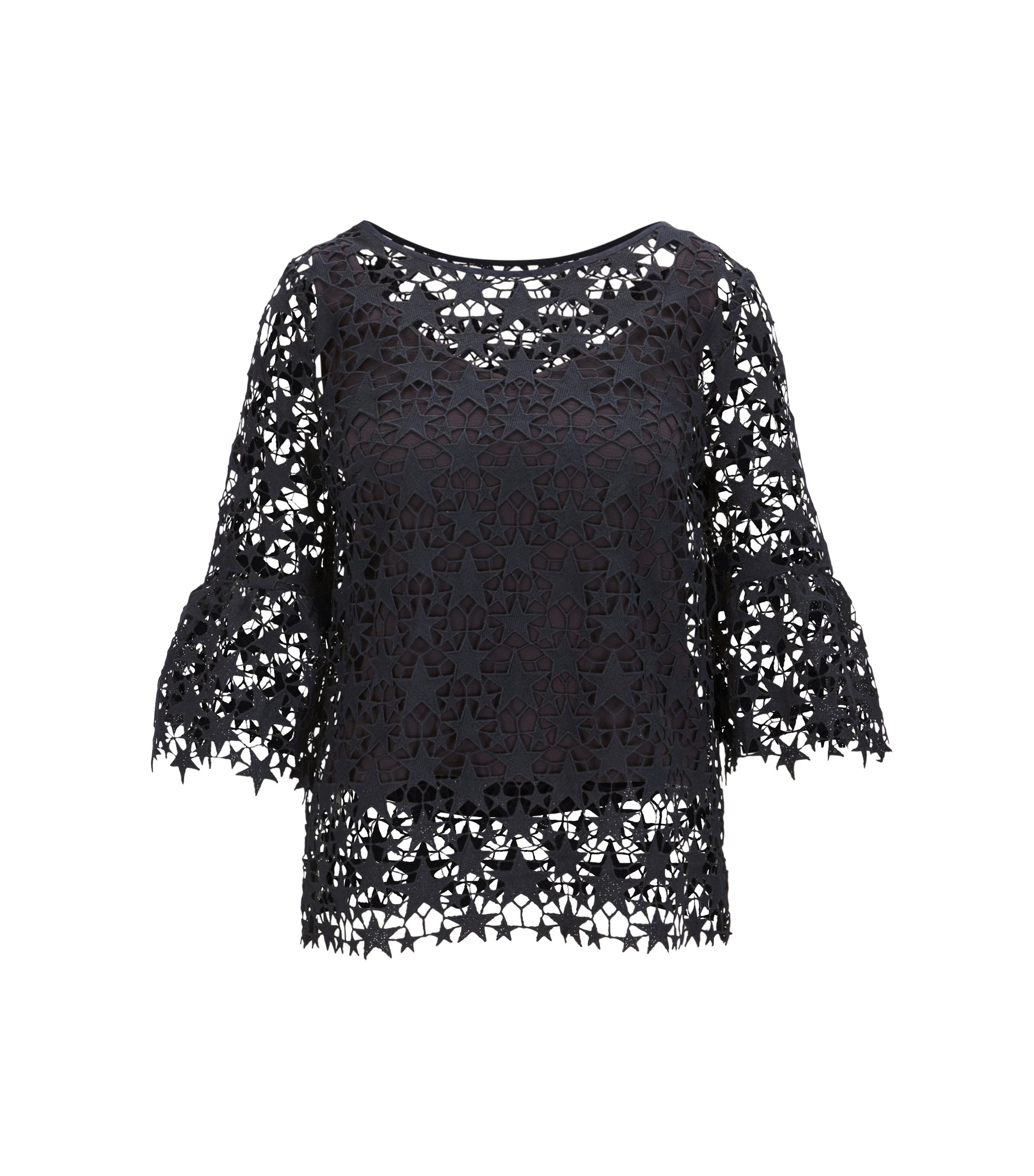 Star lace layered top with bell sleeves, Dark Blue