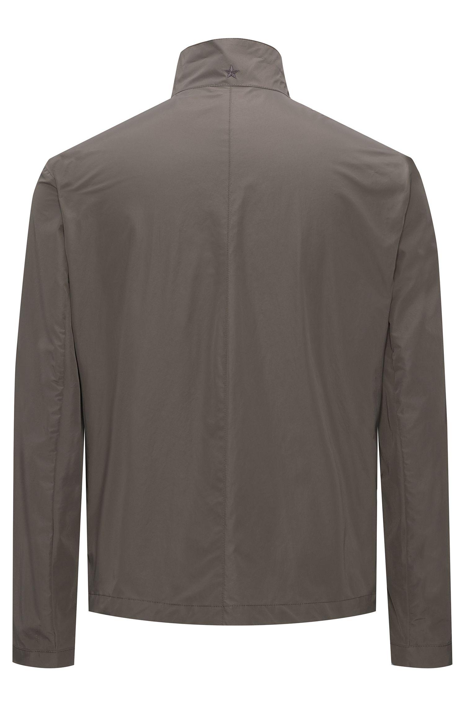 Jacke aus Material-Mix mit Stehkragen
