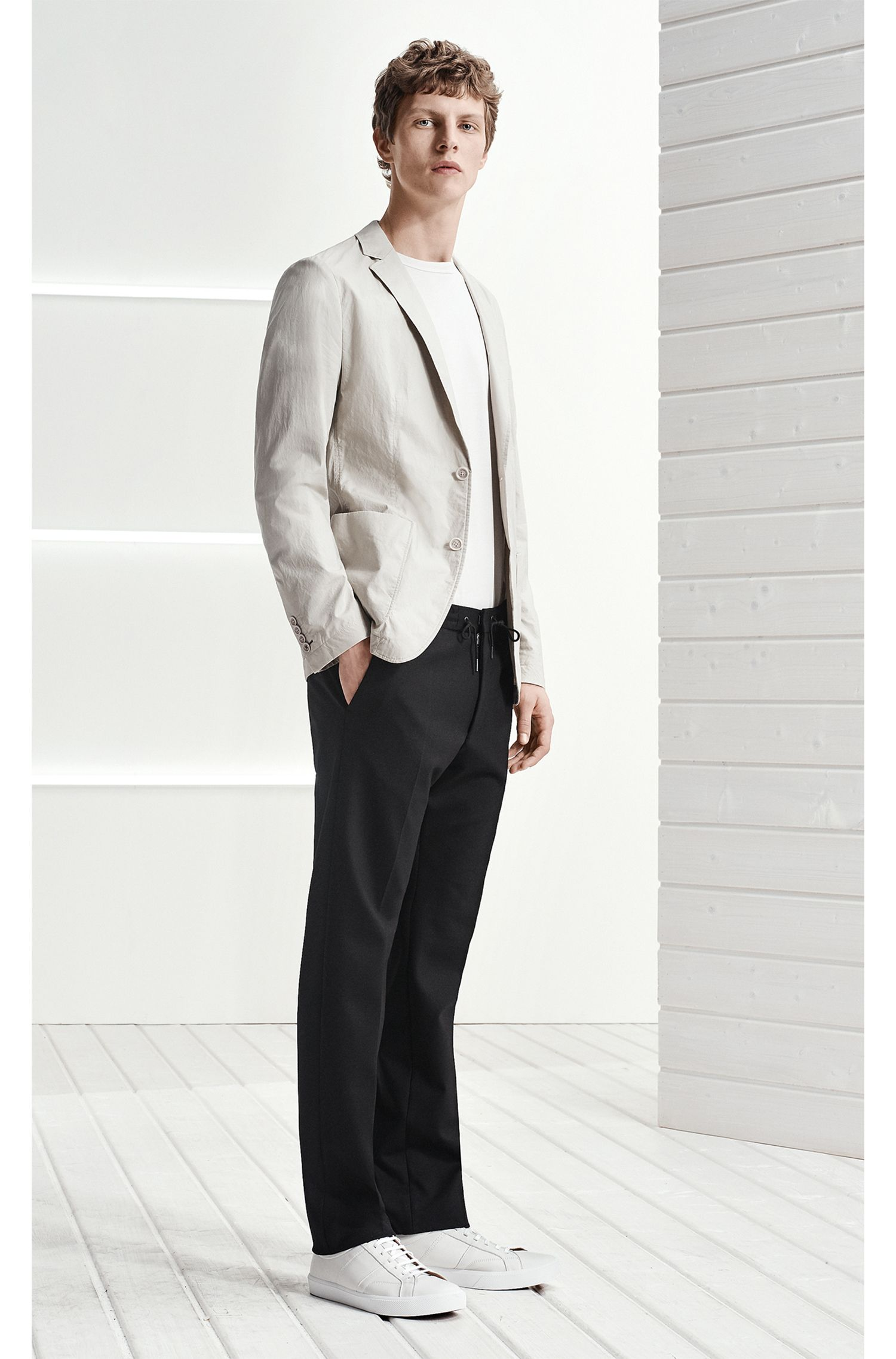 Slim-fit unlined blazer in cotton poplin