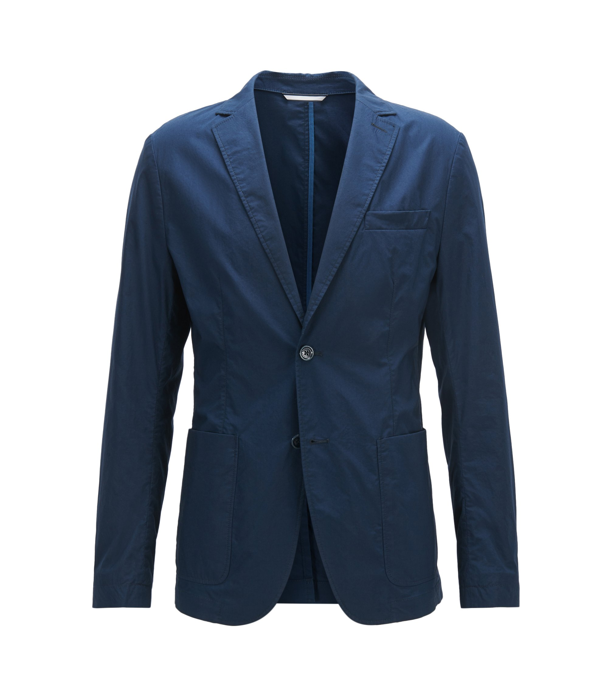 Slim-fit unlined blazer in cotton poplin , Dark Blue