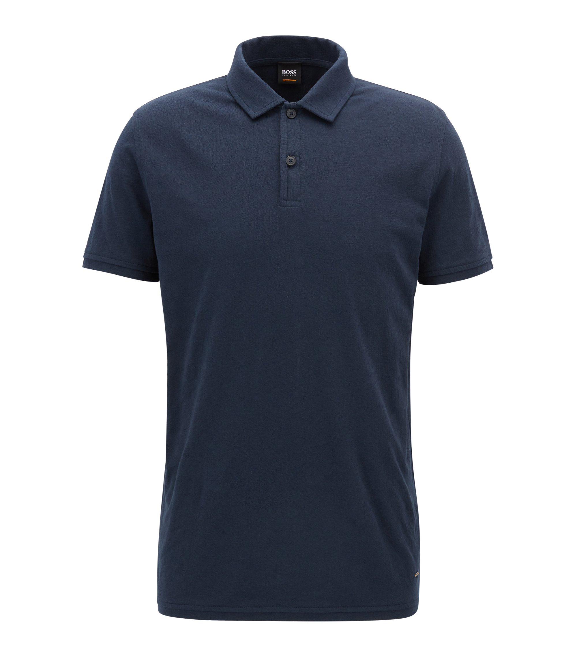 Regular-fit polo in een jacquard van katoenjersey, Donkerblauw