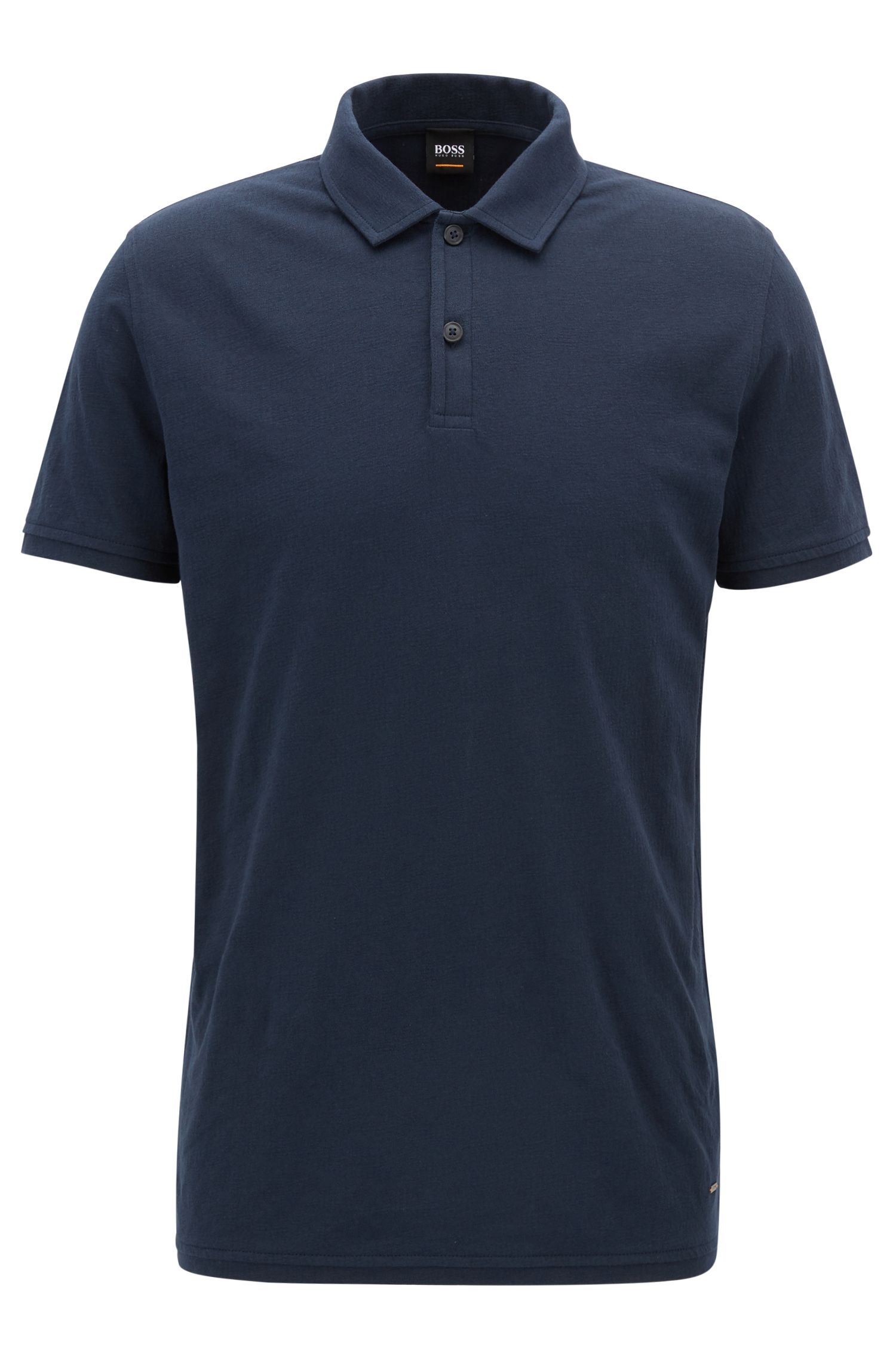 Regular-fit polo in een jacquard van katoenjersey