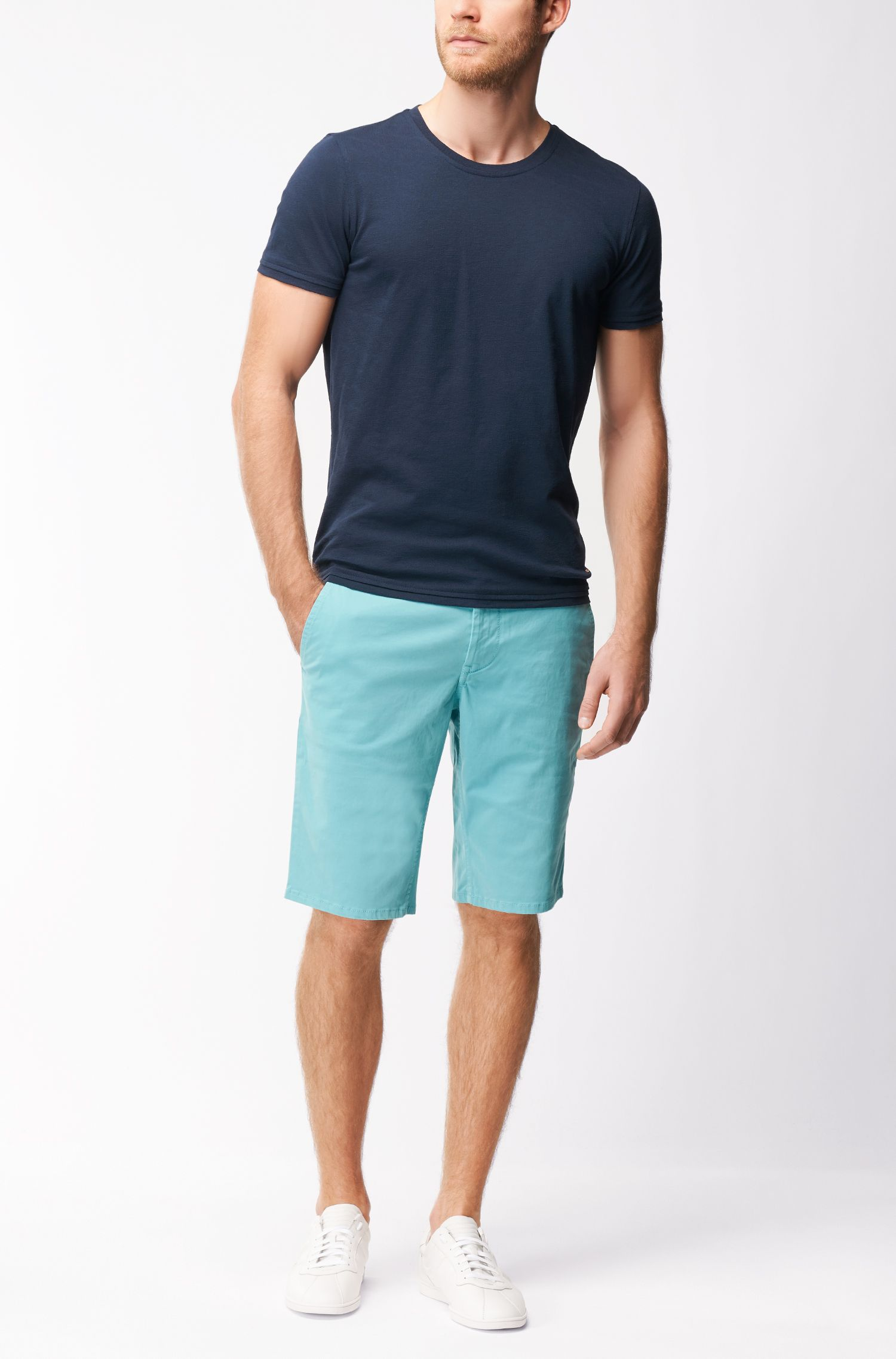 Regular-Fit T-Shirt aus strukturierter Baumwolle