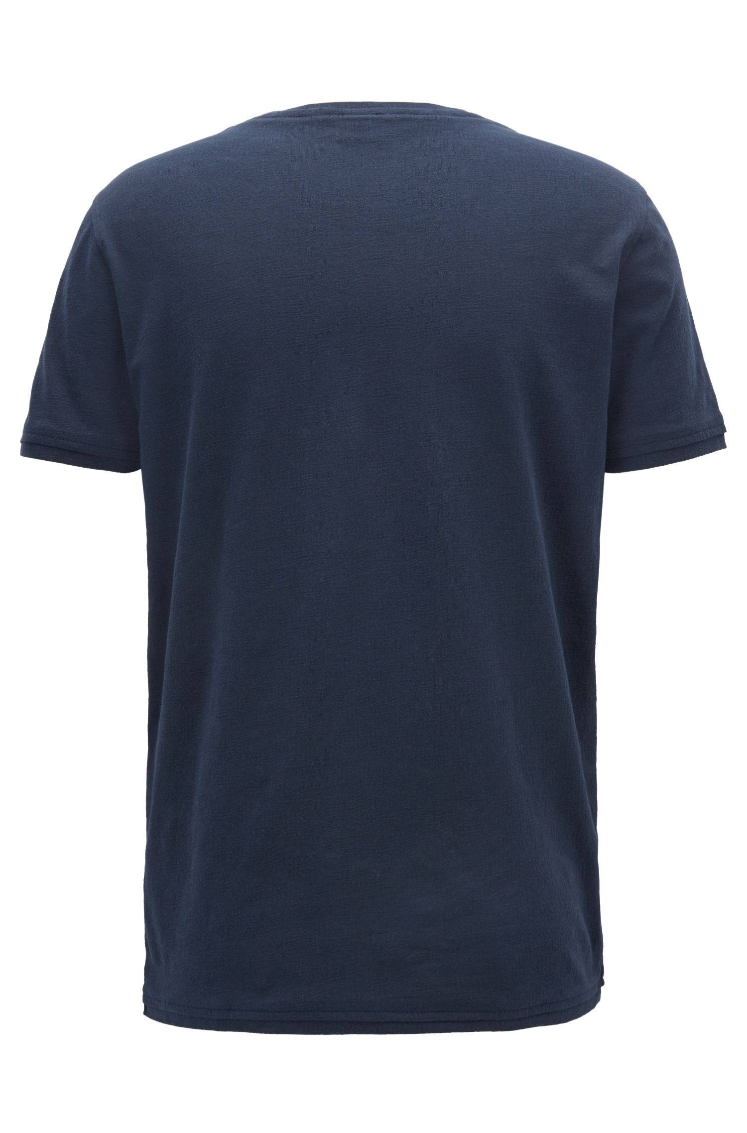 Regular-fit T-shirt van getextureerde katoenen jacquard