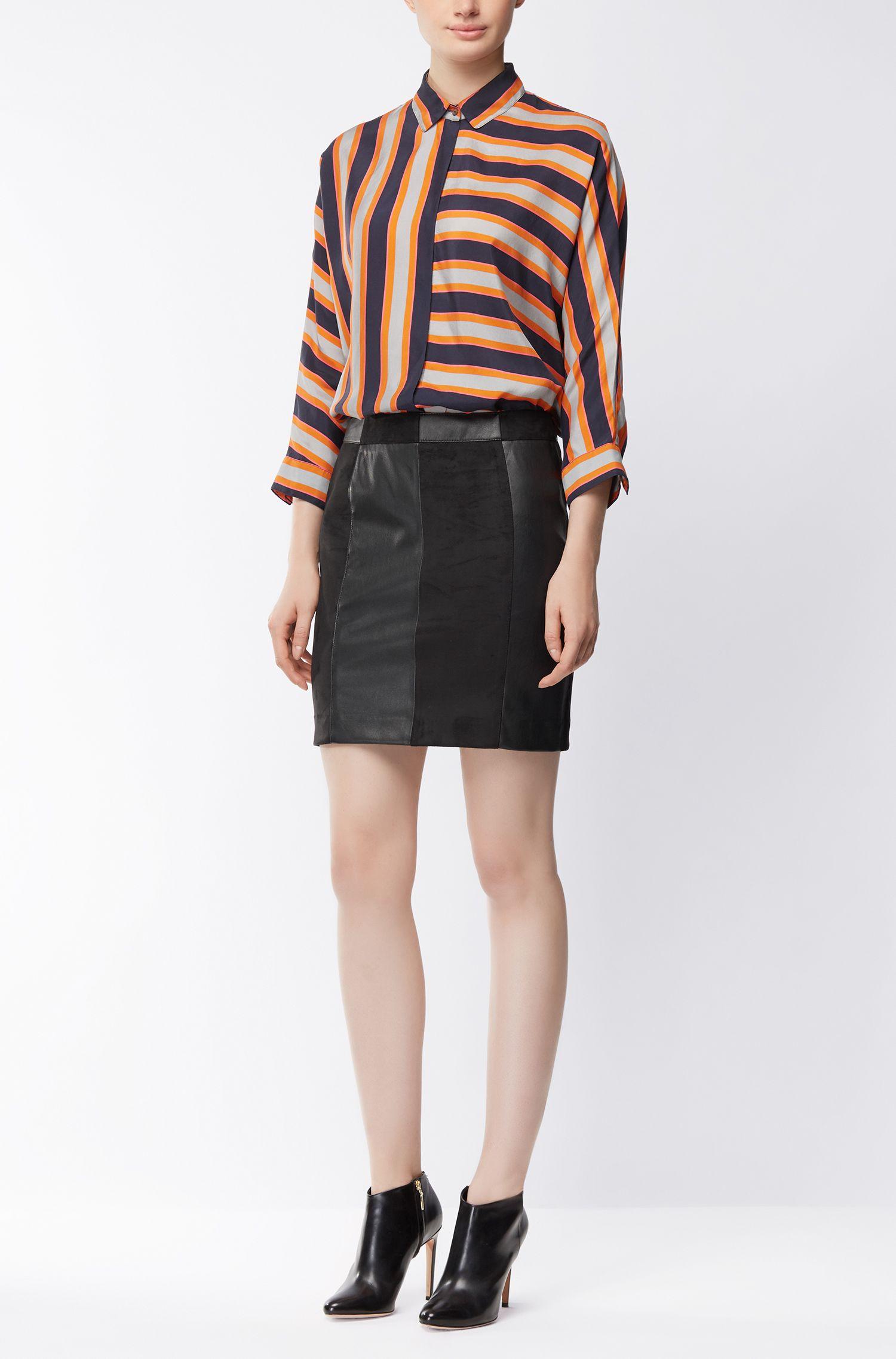 Minifalda híbrida en piel ecológica