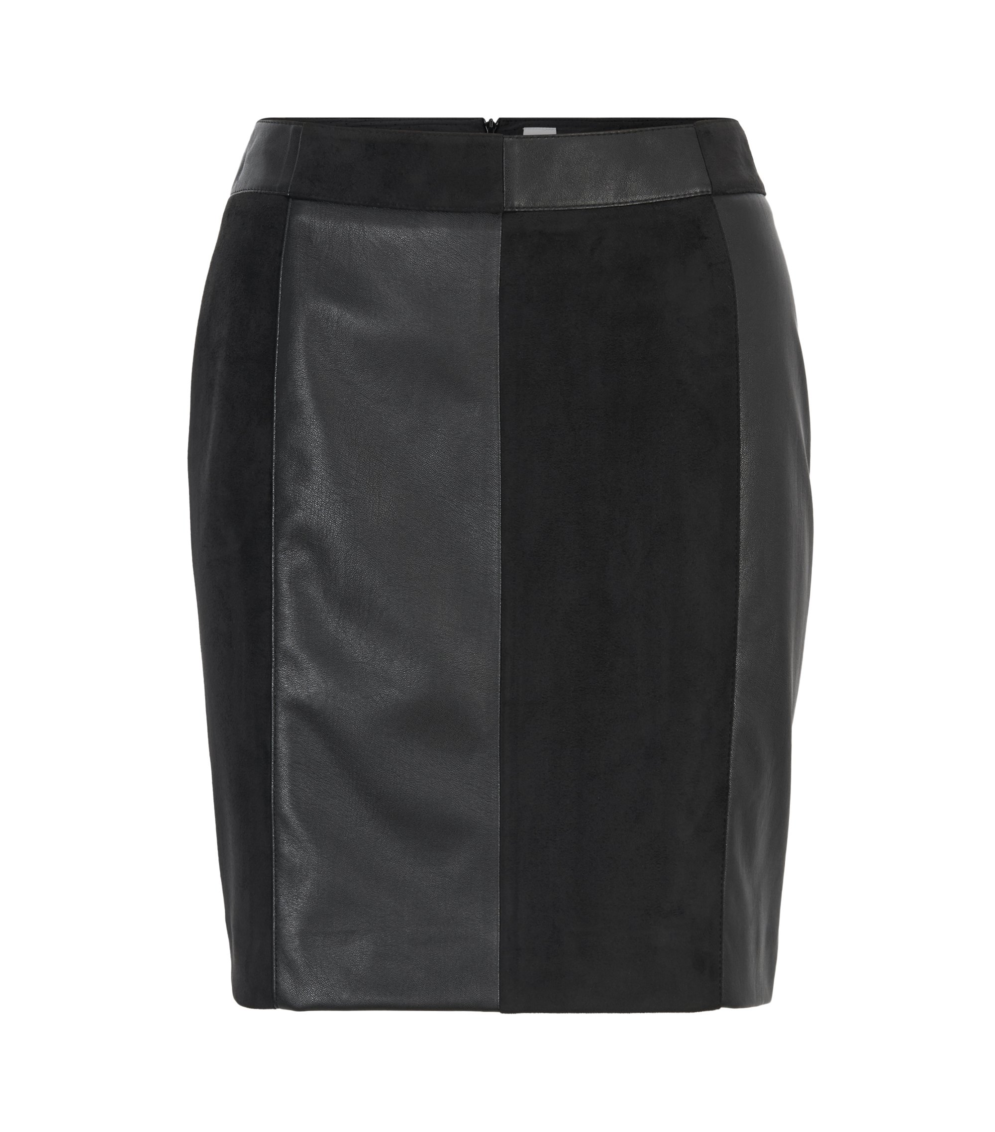 Hybrid mini skirt in friendly leather, Zwart