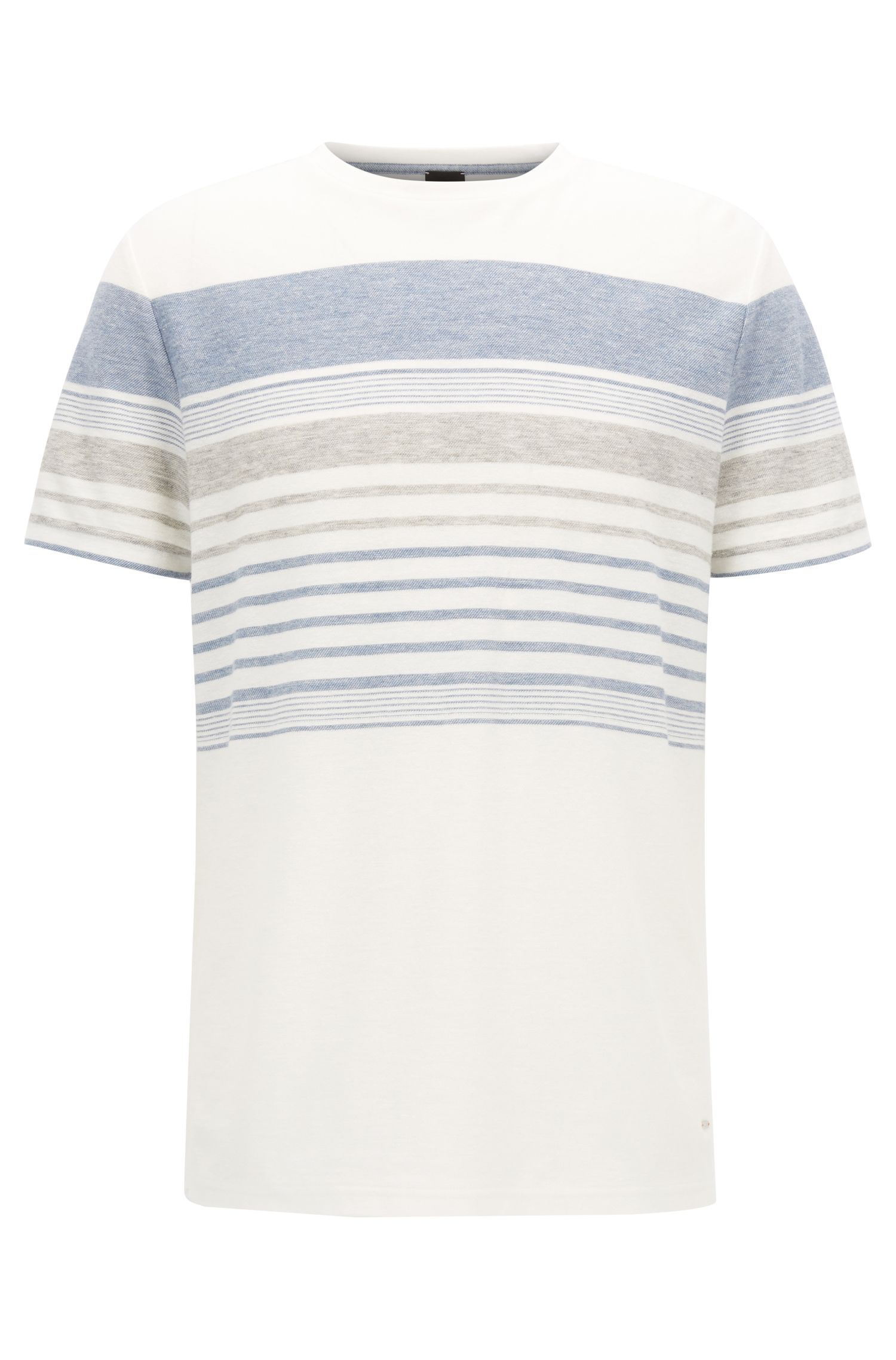 T-shirt a righe relaxed fit in misto cotone