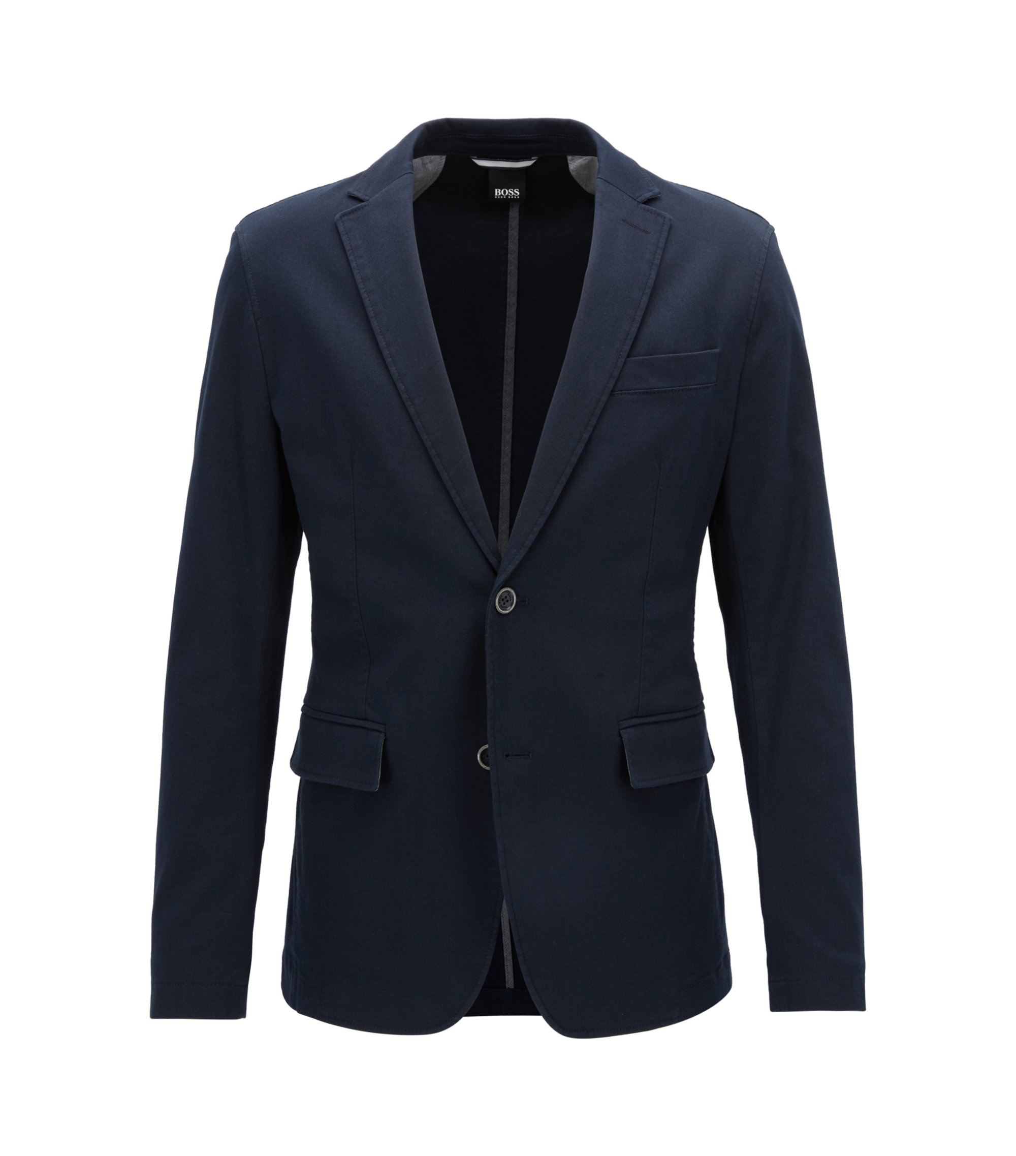 Slim-fit jacket in textured stretch cotton, Dark Blue