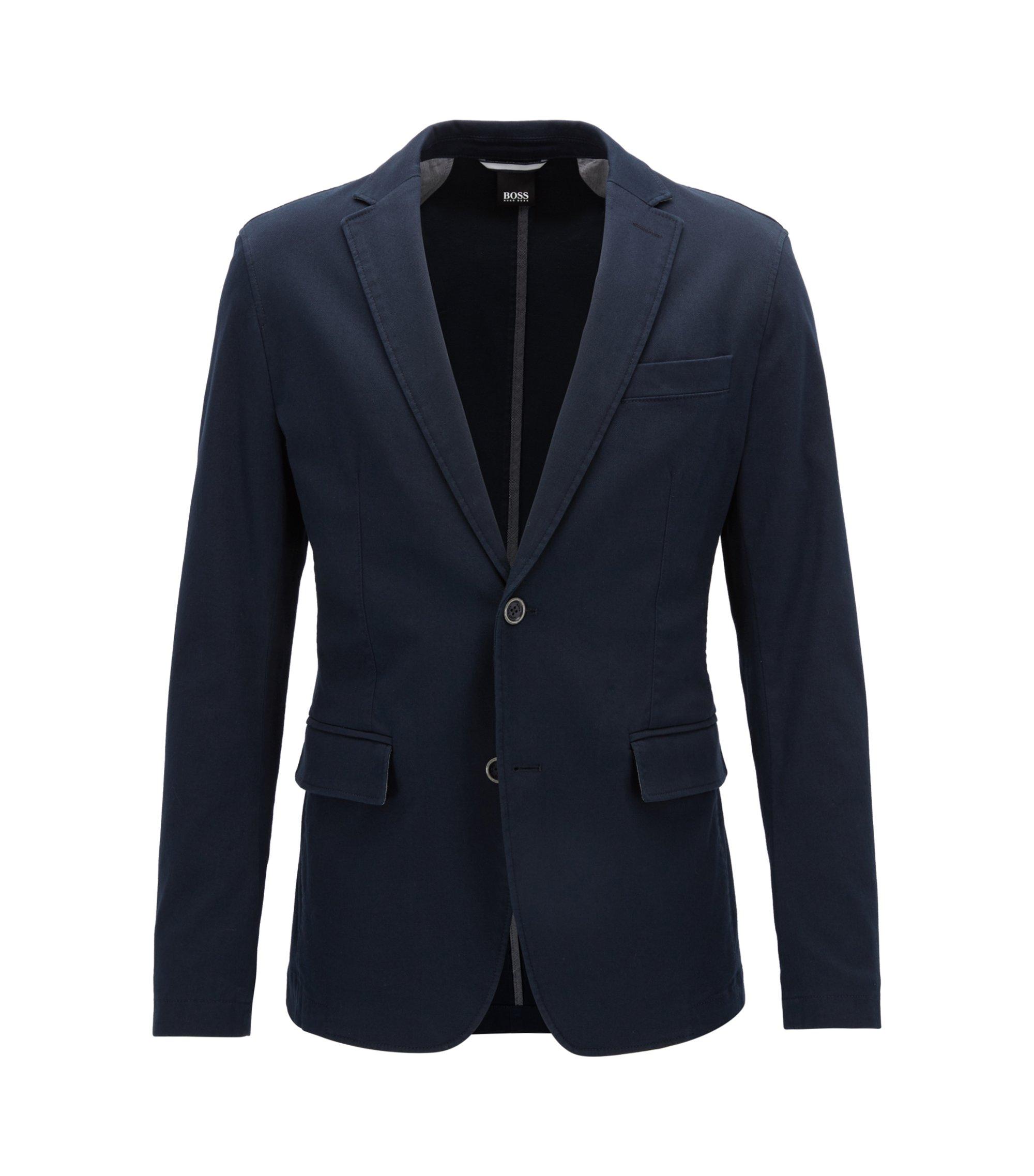 Veste Slim Fit en coton stretch texturé, Bleu foncé