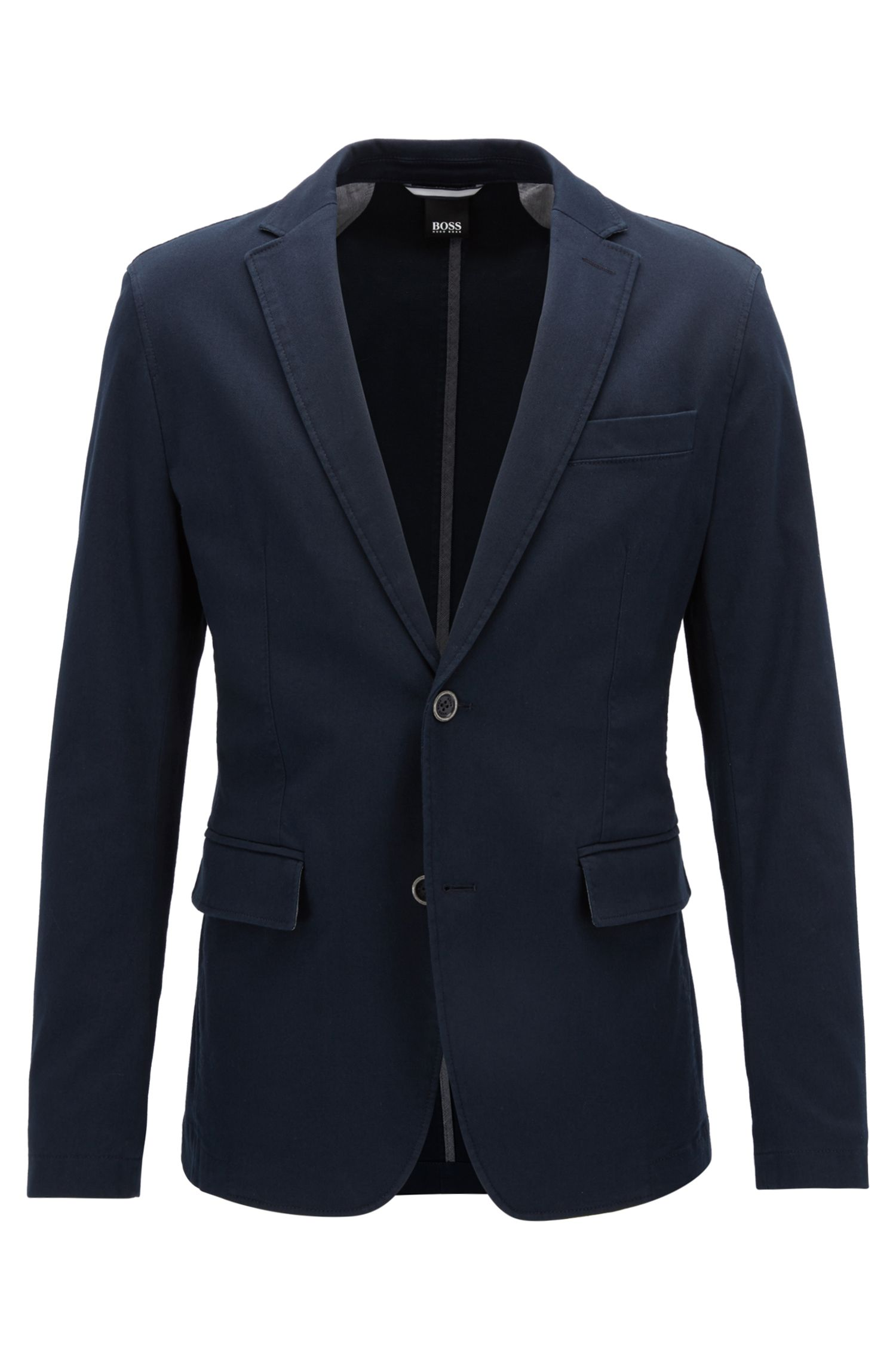 Slim-fit jacket in textured stretch cotton