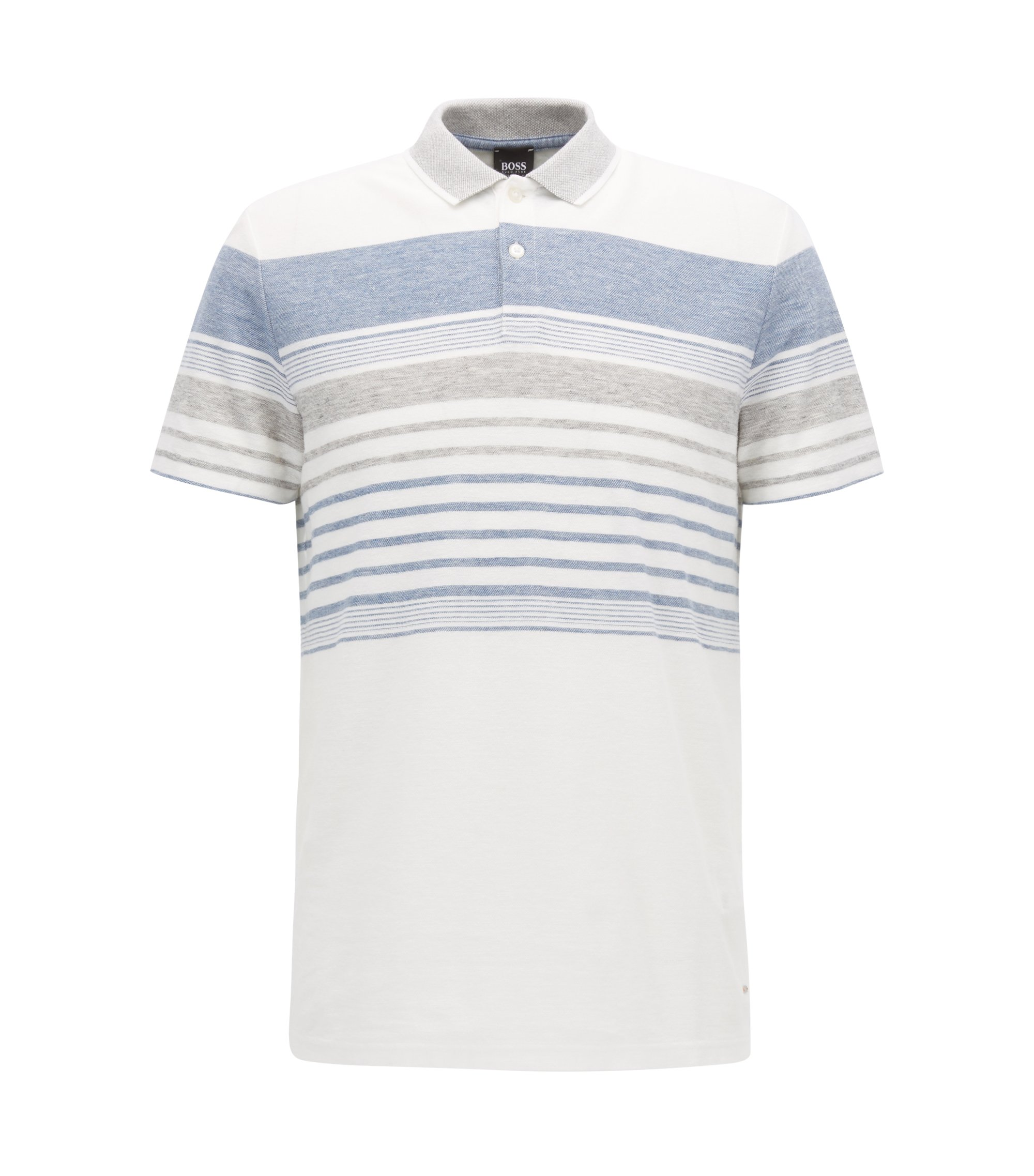 Relaxed-fit melange-striped polo shirt in a cotton-blend jacquard, Natural