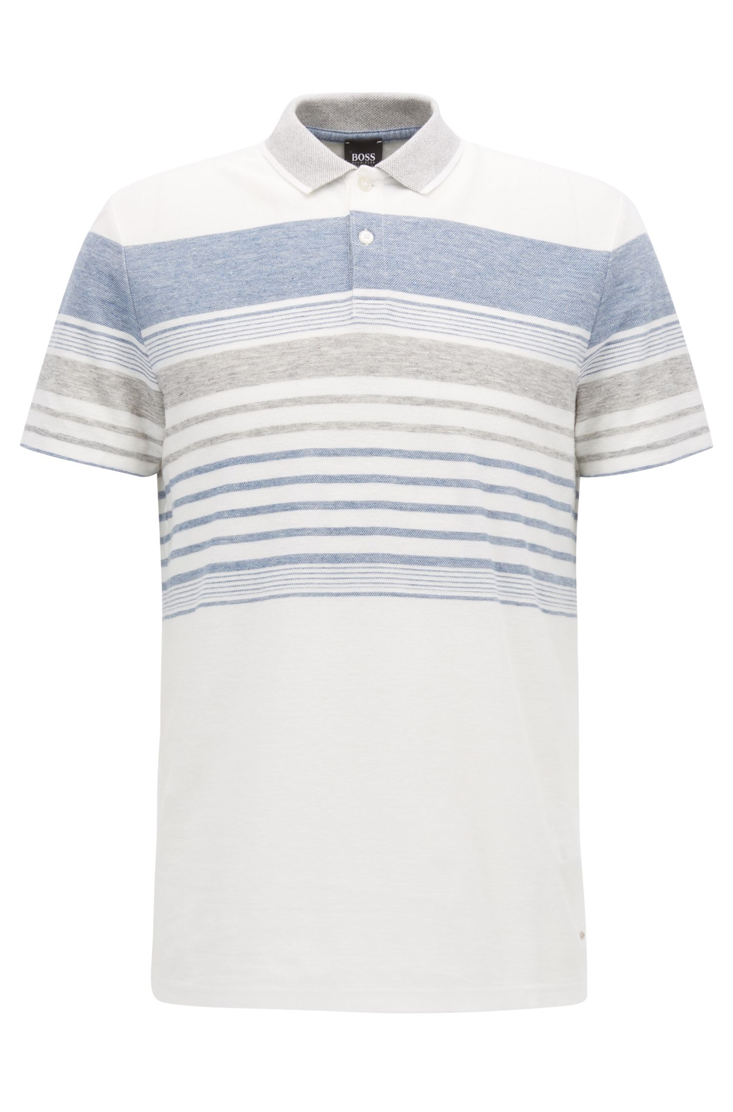 Relaxed-fit melange-striped polo shirt in a cotton-blend jacquard