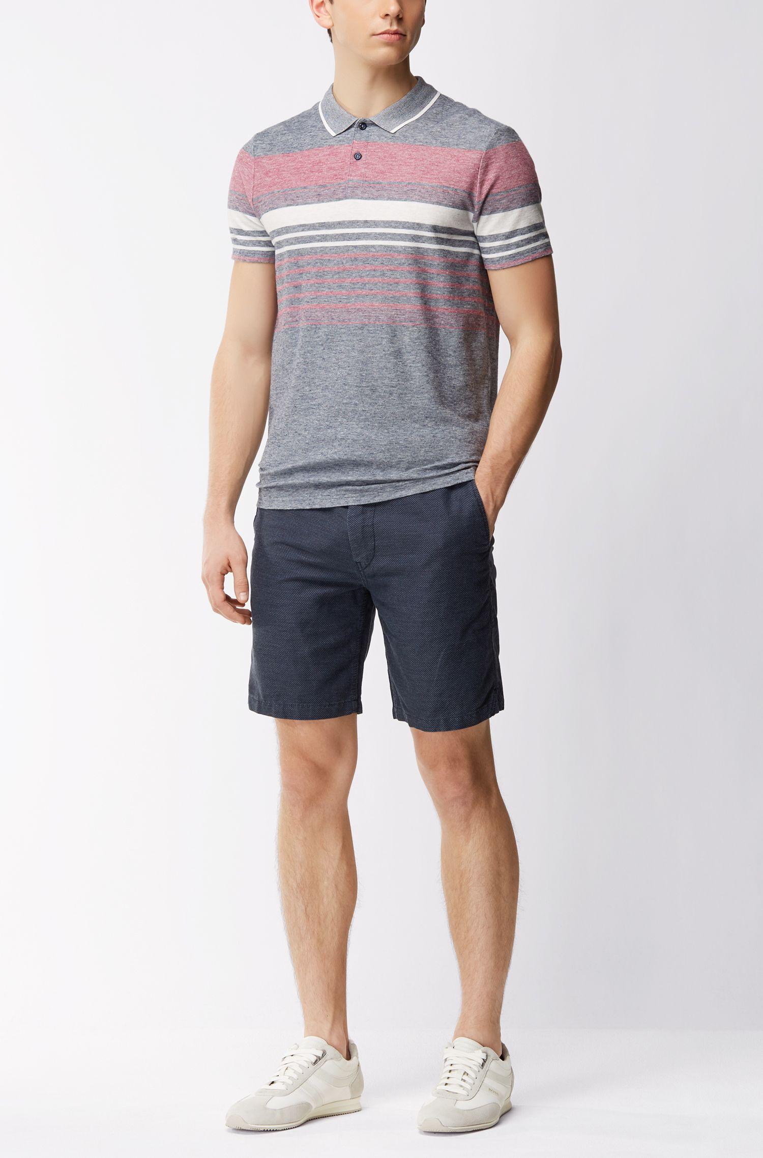Gestreiftes Relaxed-Fit Poloshirt aus meliertem Baumwoll-Mix mit Leinen