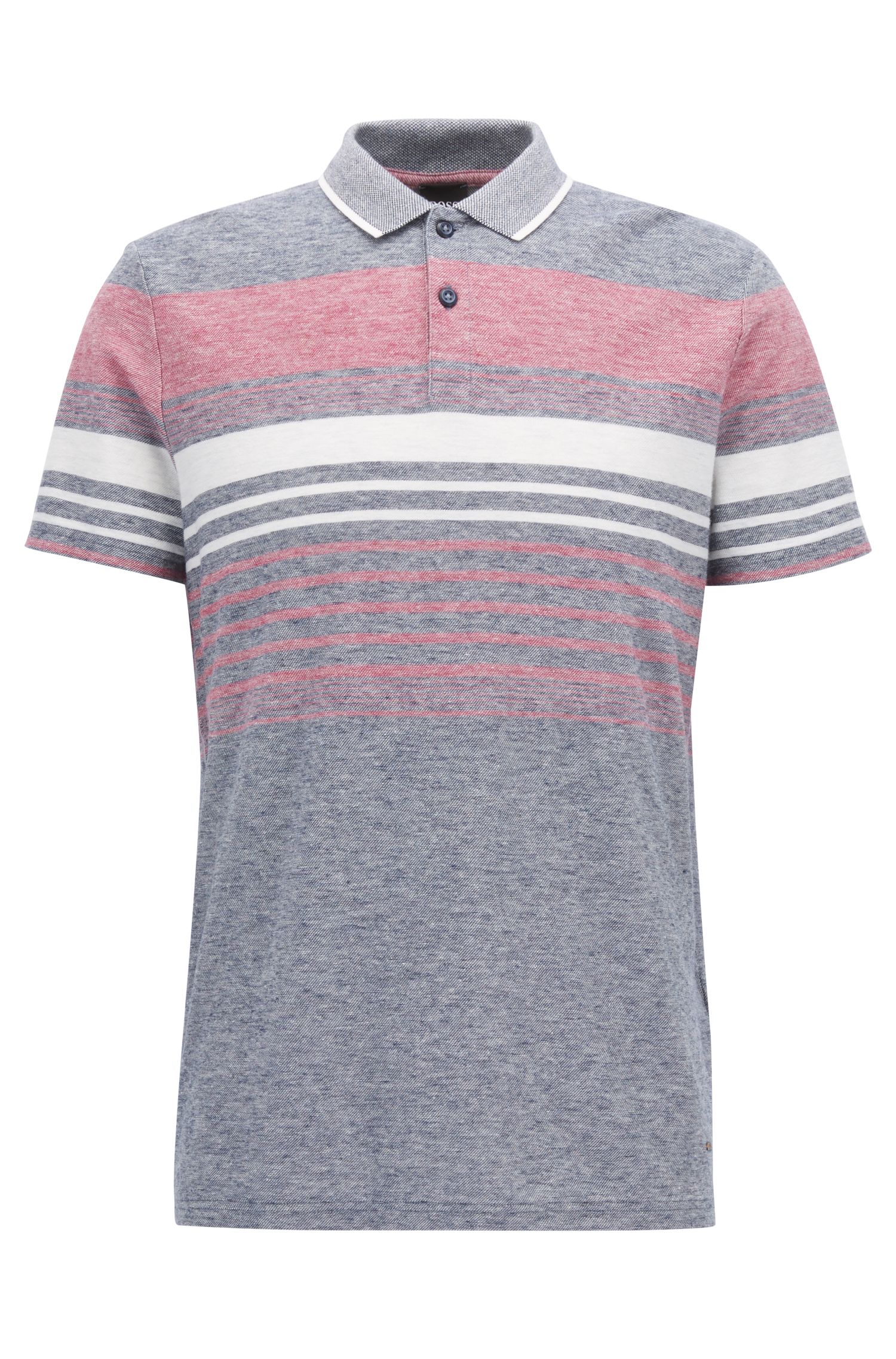 Polo relaxed fit a righe mélange in jacquard di misto cotone