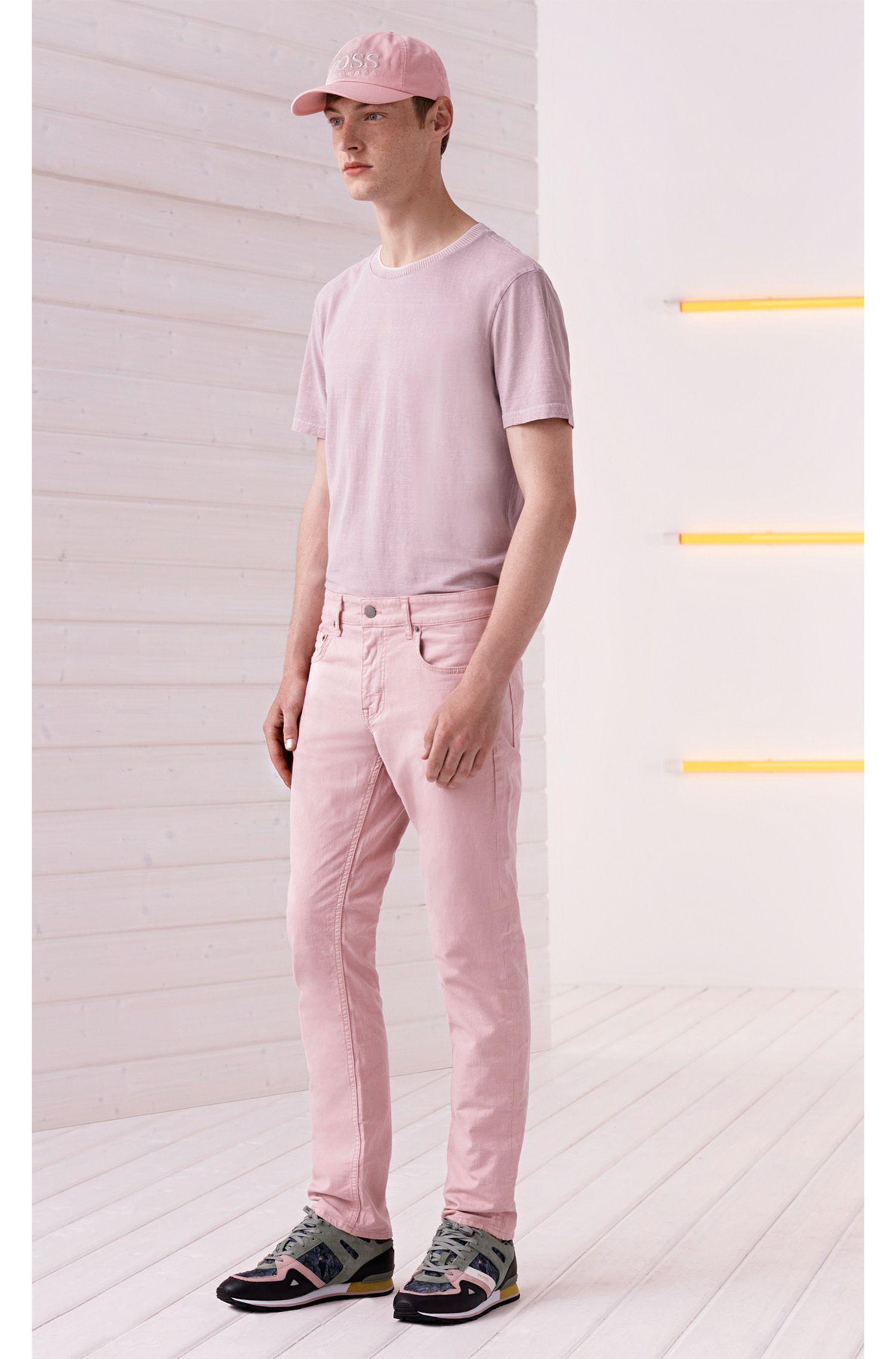 Camiseta relaxed fit en mezcla de algodón flameado y lavado