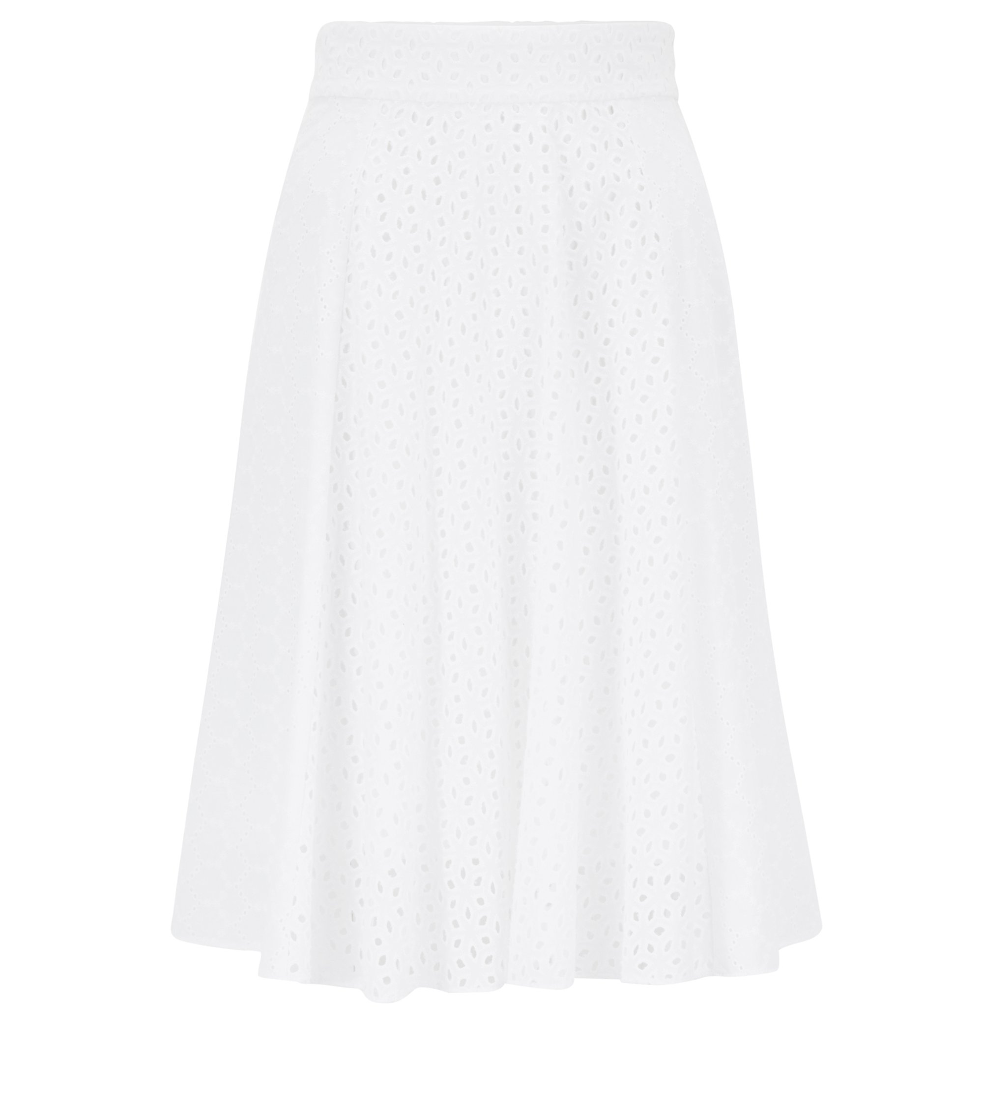 Broderie anglaise A-line skirt in cotton voile, White