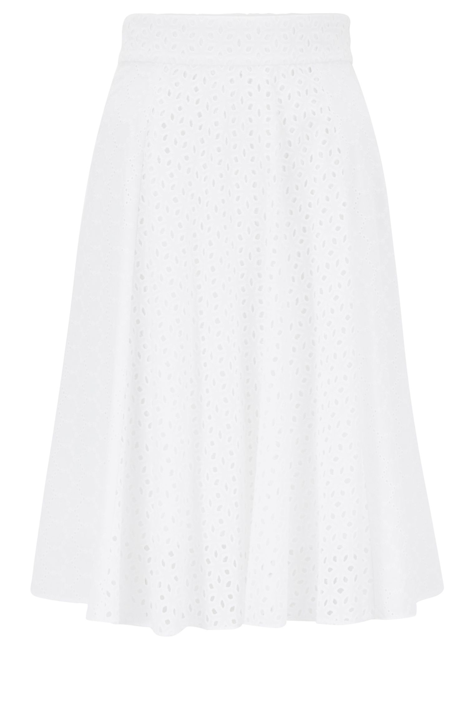 Broderie anglaise A-line skirt in cotton voile