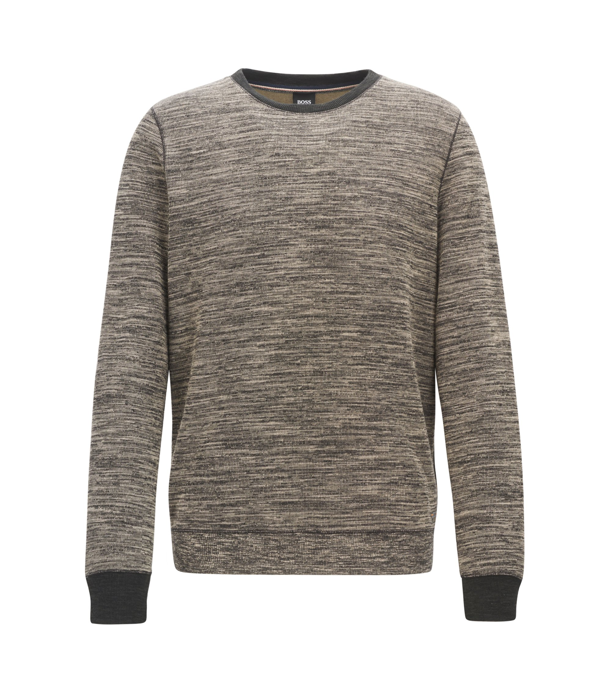 Cotton-blend sweater with mélange texture, Grey