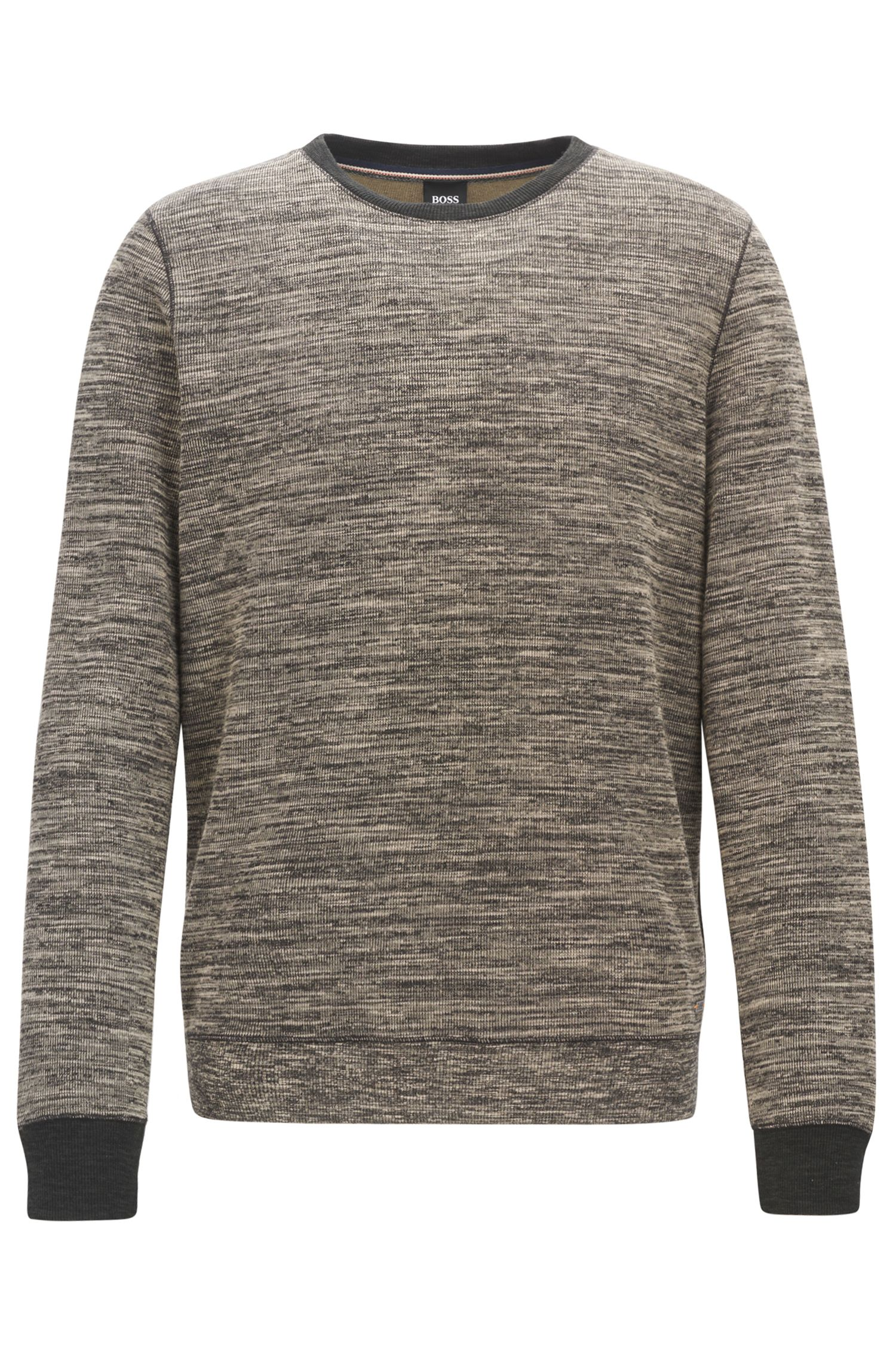 Cotton-blend sweater with mélange texture