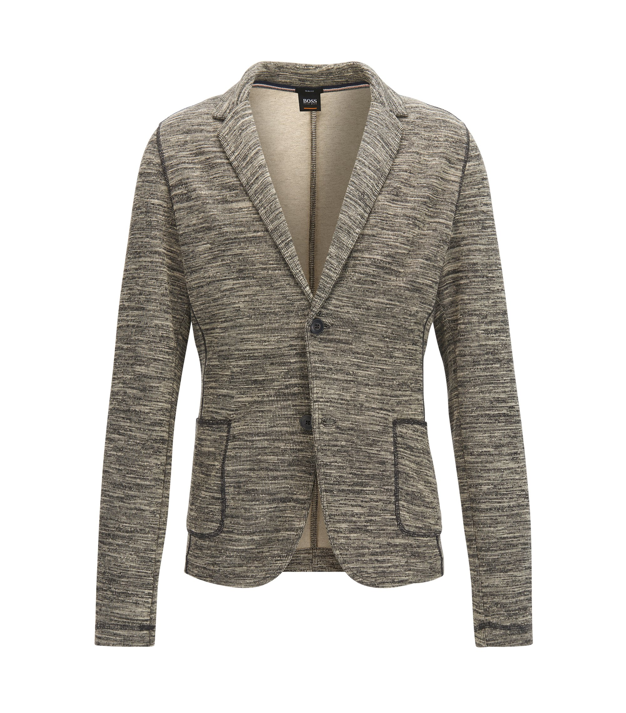 Slim-fit jacket in cotton-blend mélange fabric, Grey