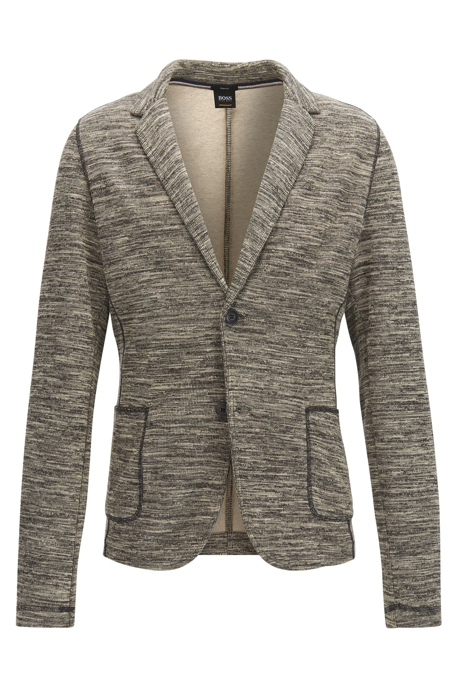 Slim-fit jacket in cotton-blend mélange fabric