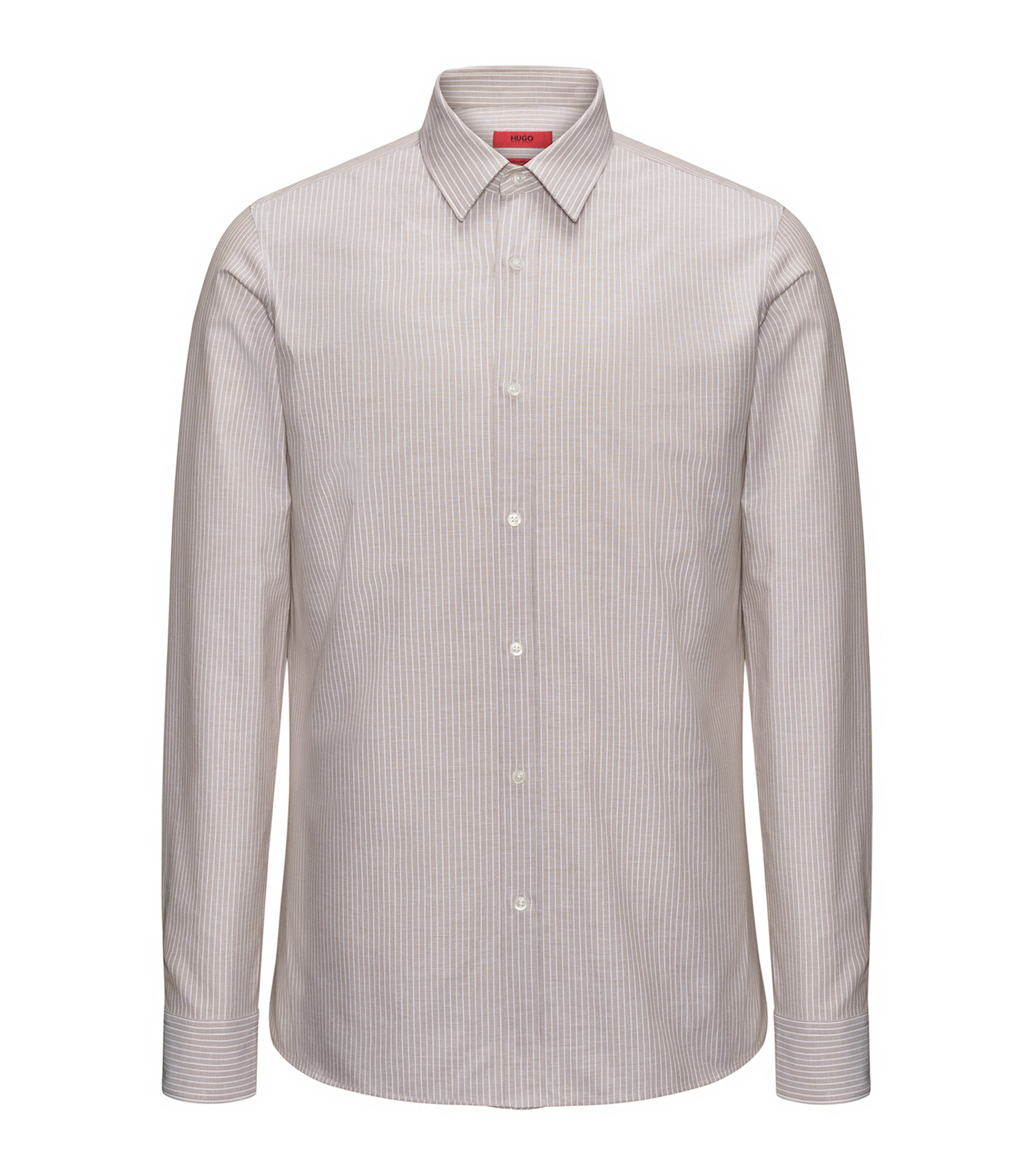 Striped cotton-blend shirt in an extra-slim fit, Light Beige