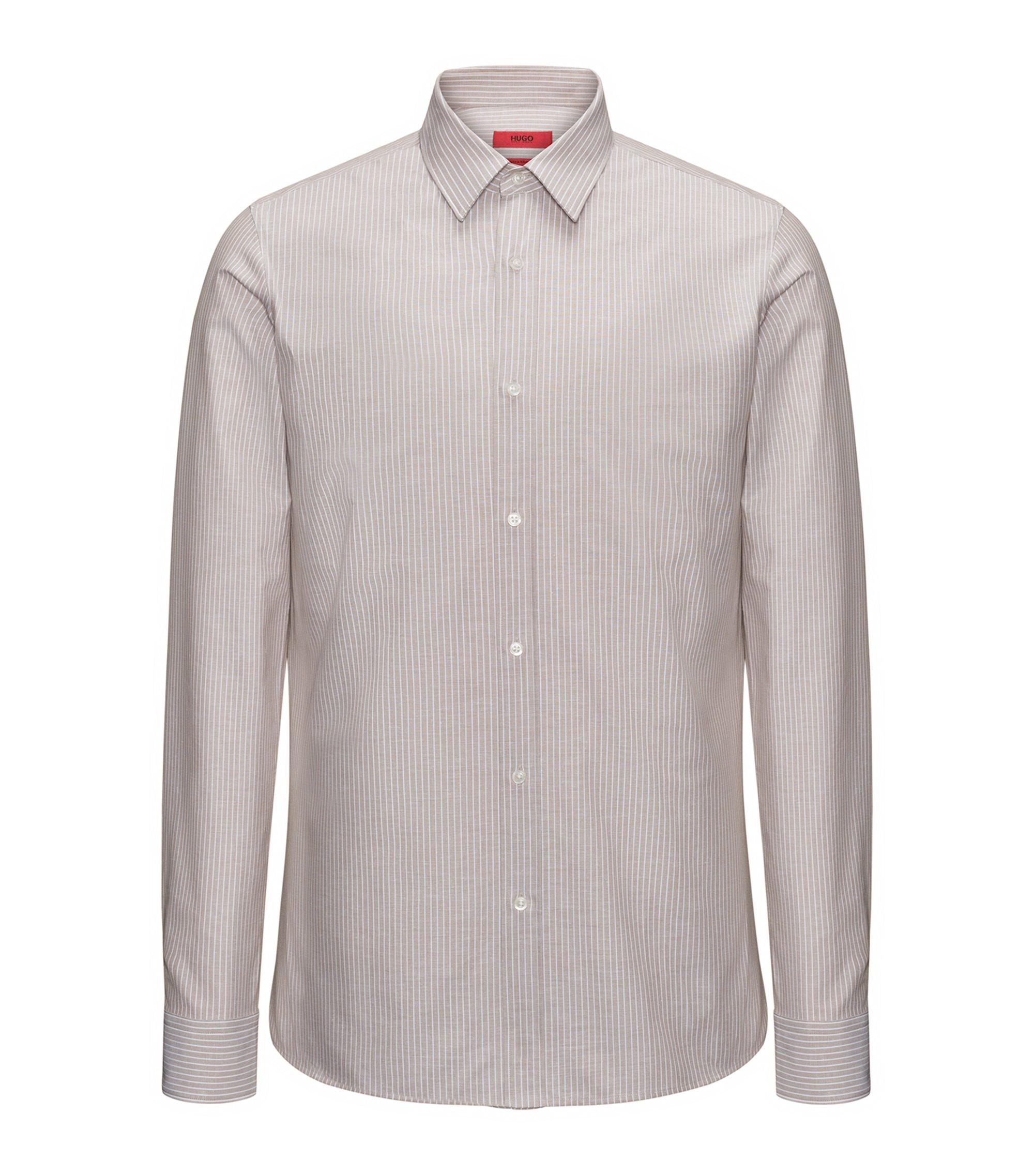 Gestreiftes Extra Slim-Fit Hemd aus Baumwoll-Mix mit Leinen, Hellbeige