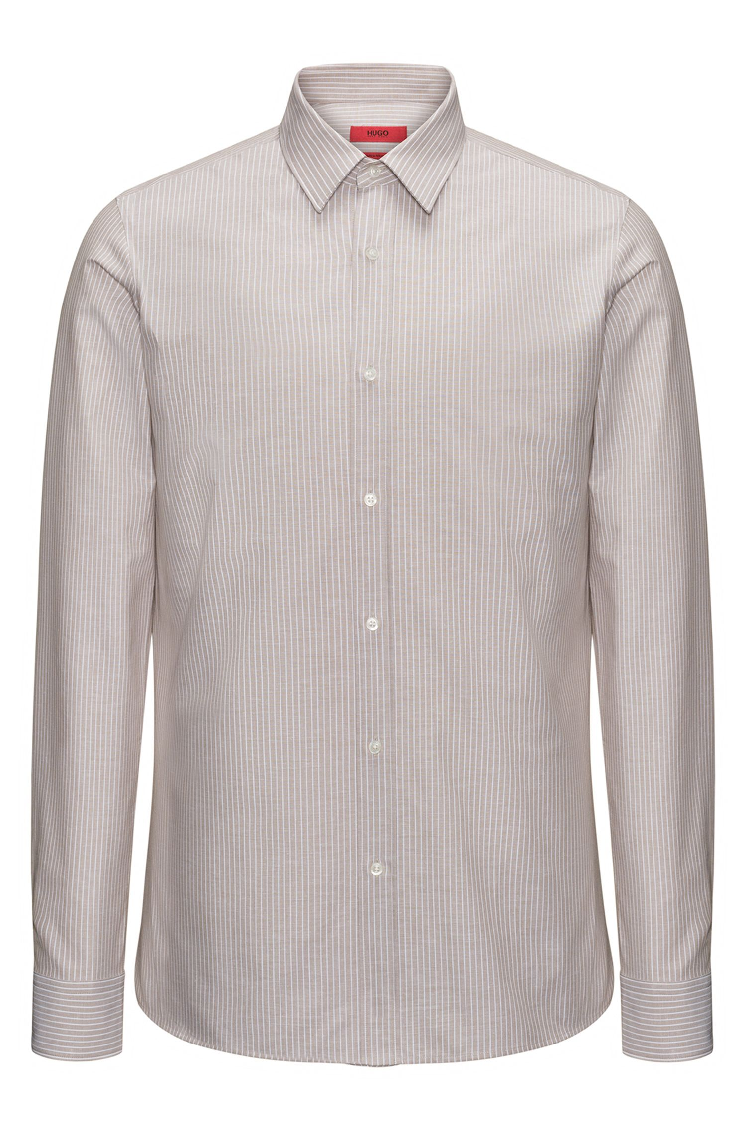 Striped cotton-blend shirt in an extra-slim fit
