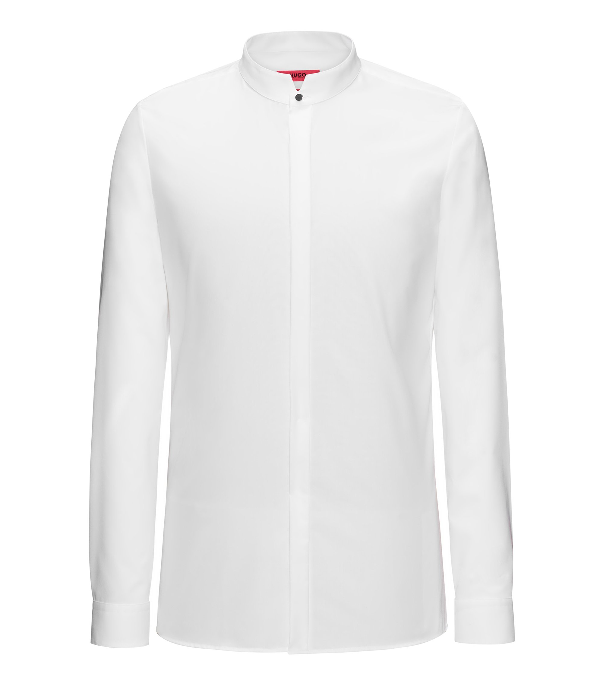 Extra-slim-fit cotton dress shirt with stand collar, Open White