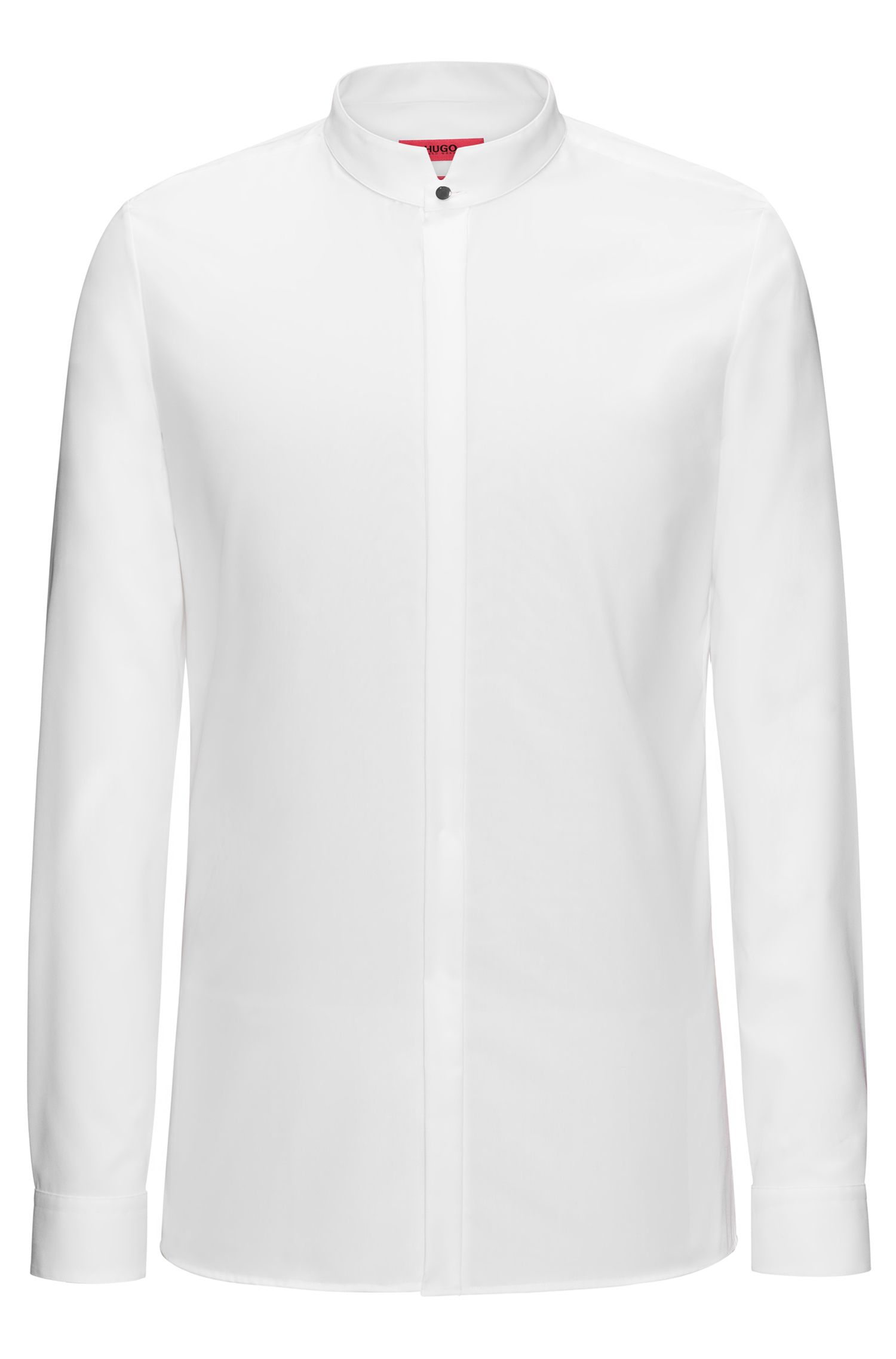 Extra-slim-fit cotton dress shirt with stand collar