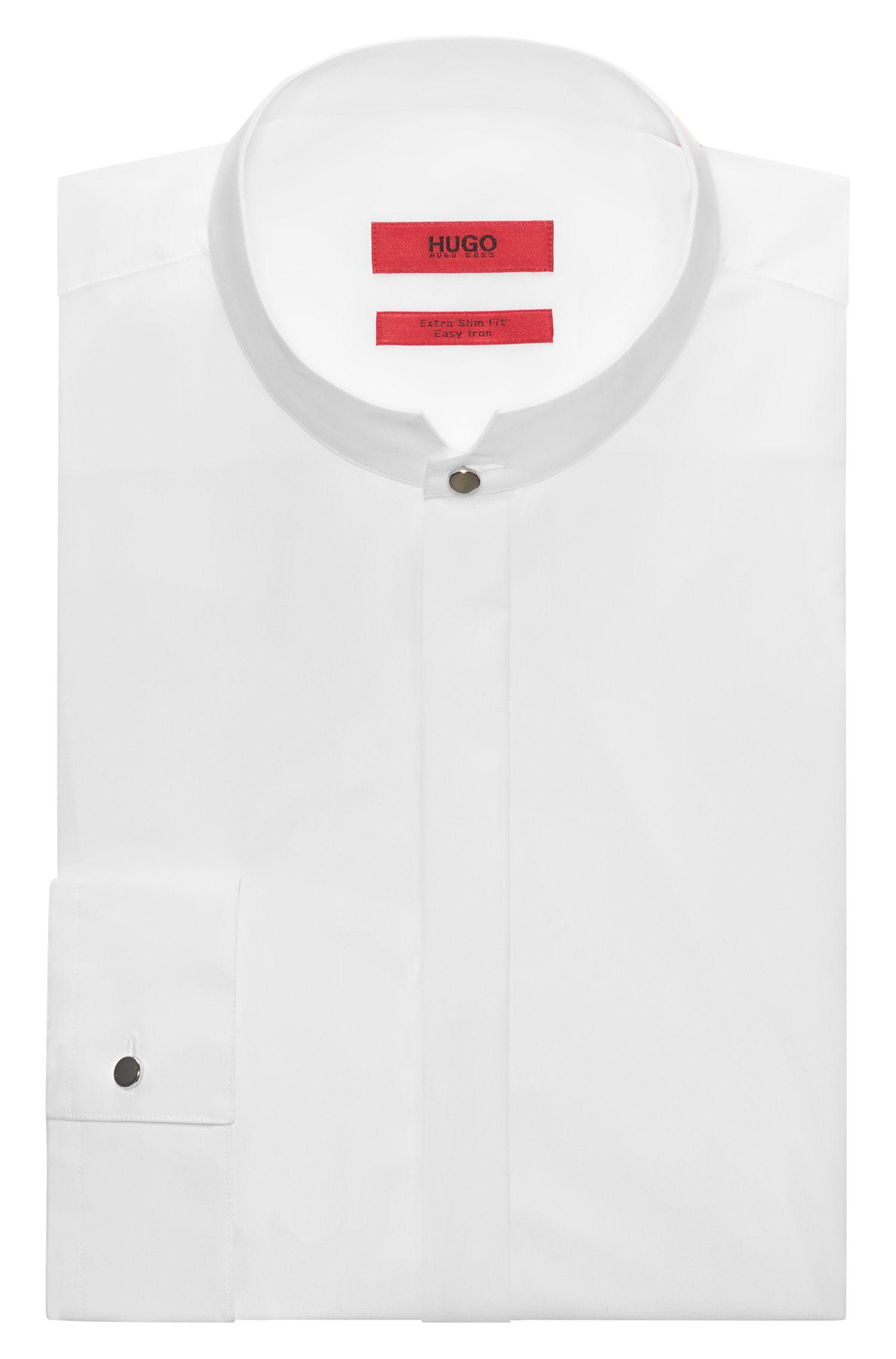 Extra slim-fit gekleed overhemd met opstaande kraag van katoen