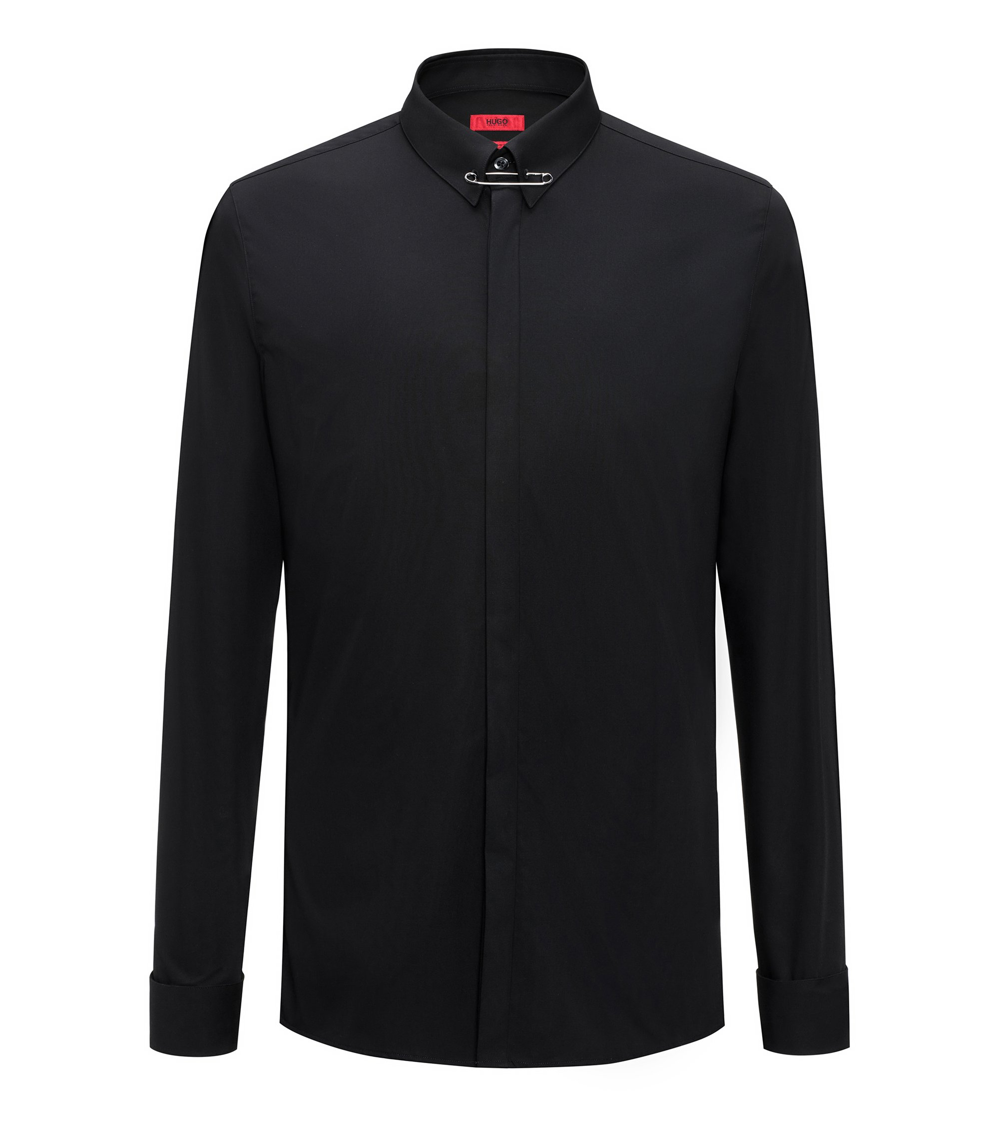 Extra-slim-fit cotton shirt with safety-pin collar detail, Black
