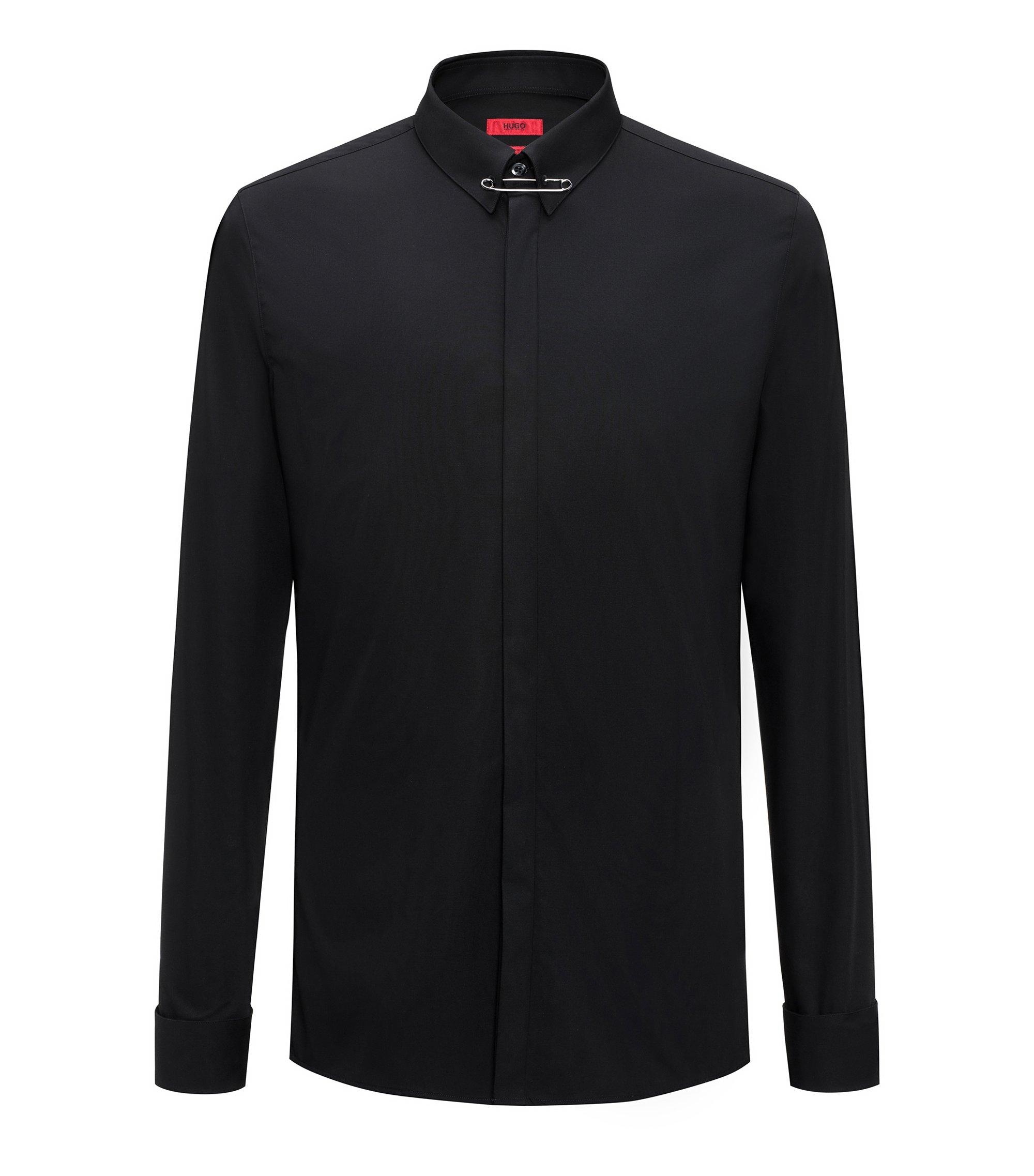 Extra Slim-Fit Hemd aus Baumwolle mit Sicherheitsnadel am Kragen, Schwarz