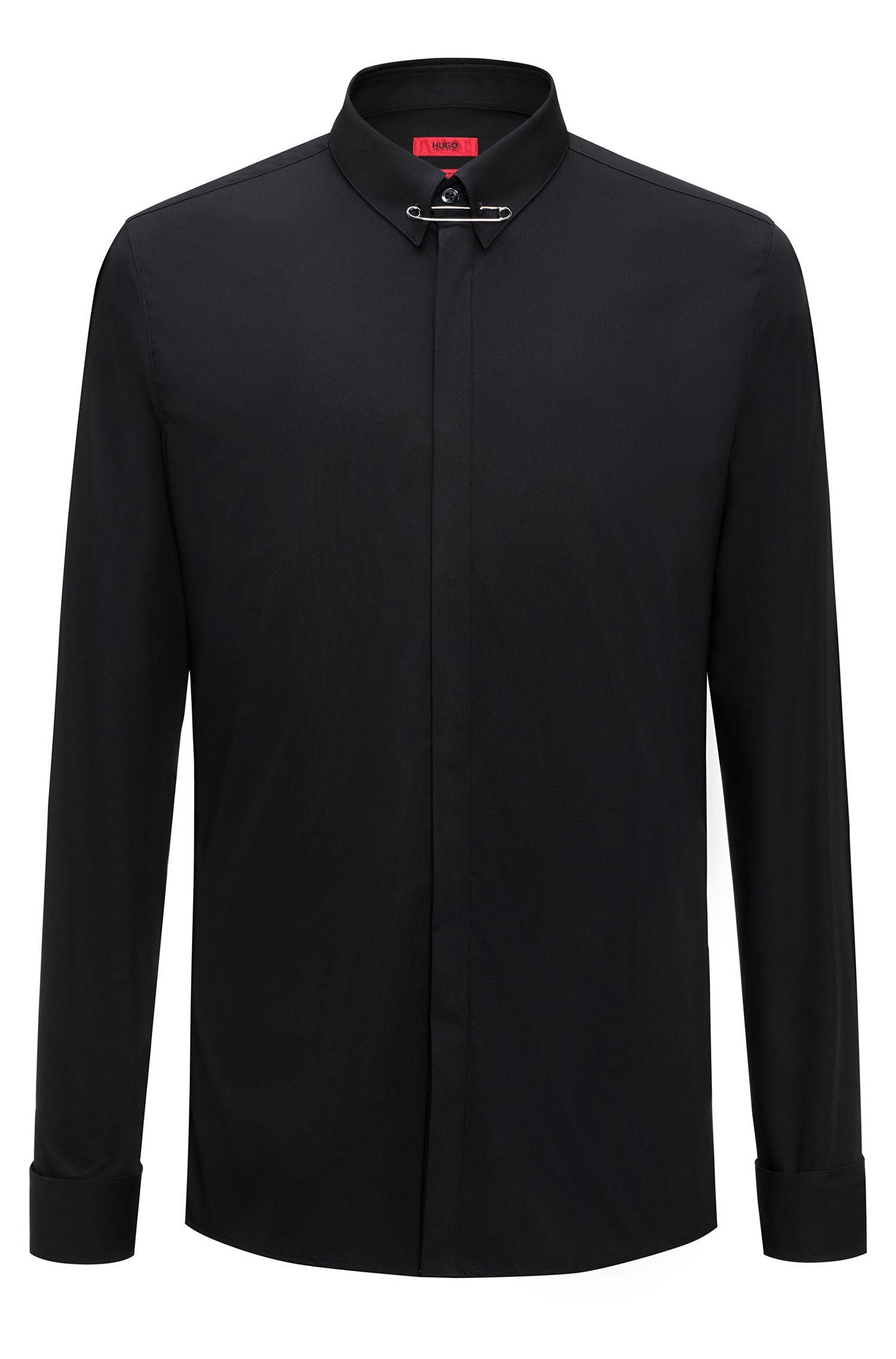 Chemise Extra Slim Fit en coton avec épingle à nourrice au niveau du col