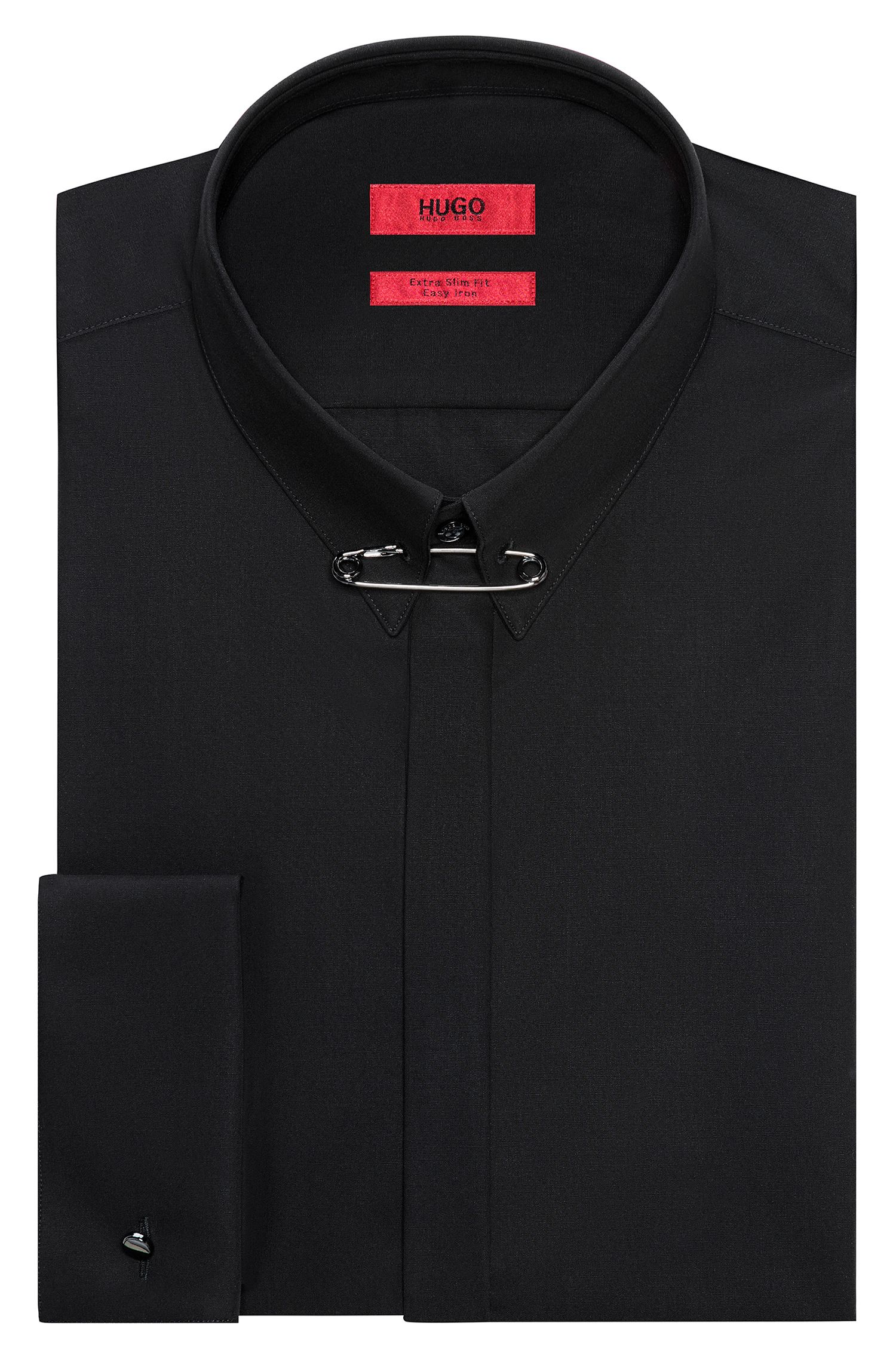 Extra-slim-fit cotton shirt with safety-pin collar detail