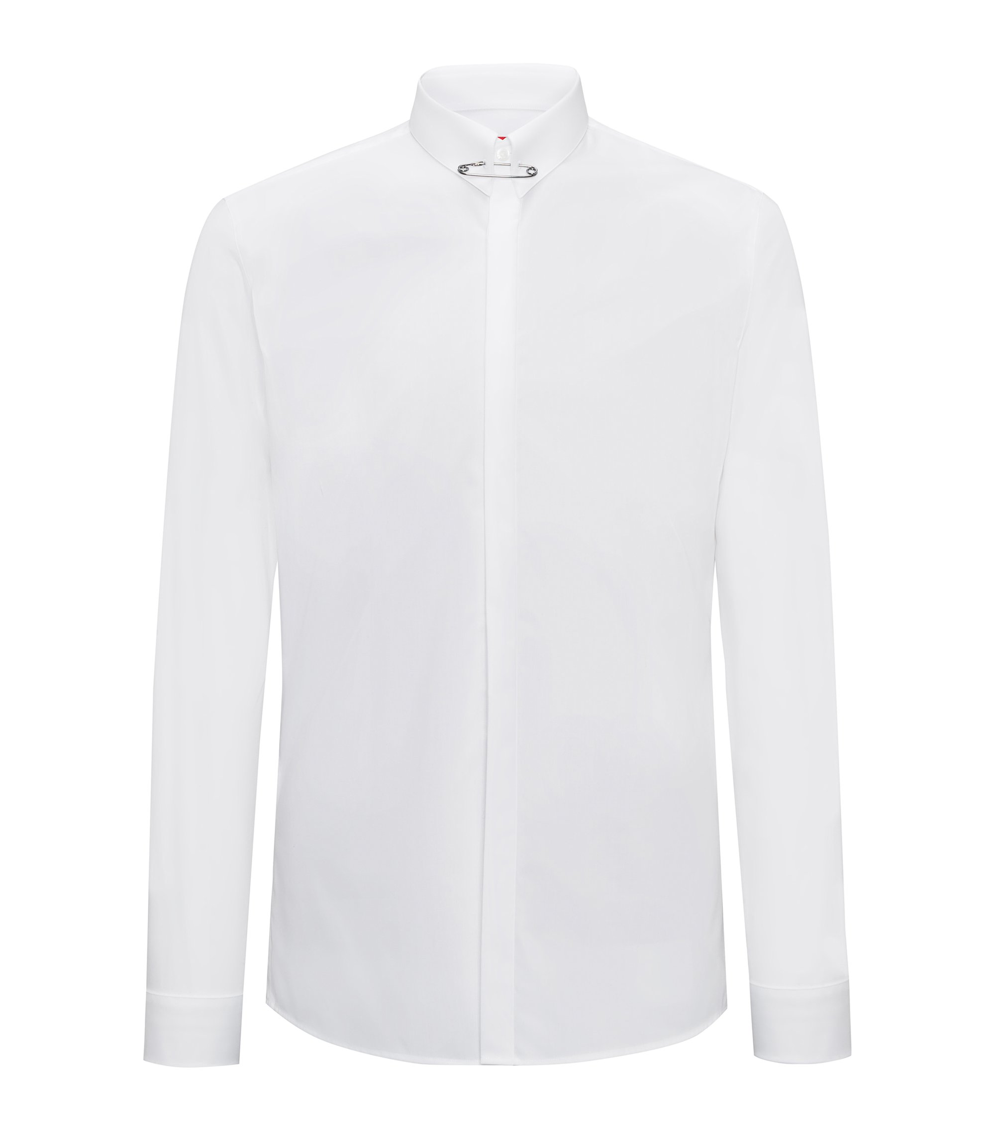 Extra-slim-fit cotton shirt with safety-pin collar detail, White