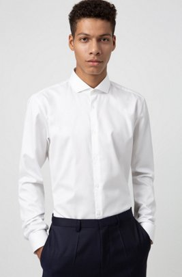 Extra-slim-fit shirt in cotton twill, White