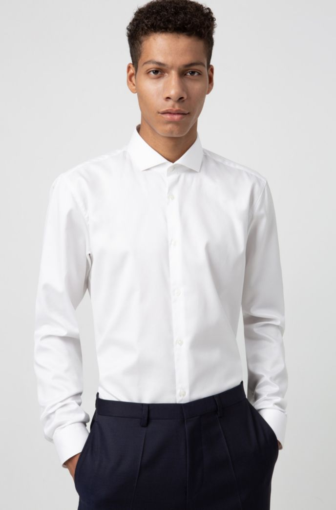 Extra slim-fit overhemd in een twill van katoen