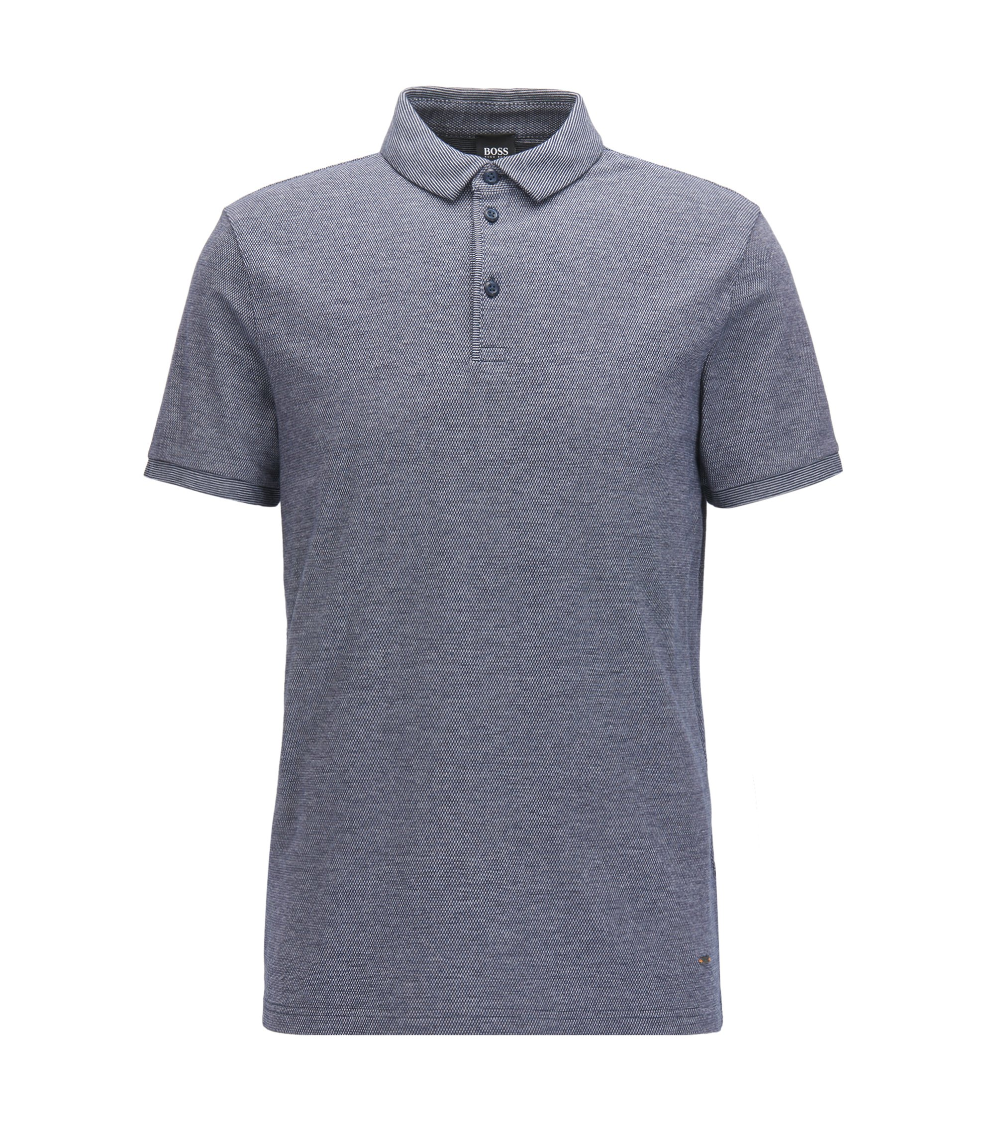 Relaxed-fit polo in een piqué van Oxfordkatoen met stretch , Donkerblauw