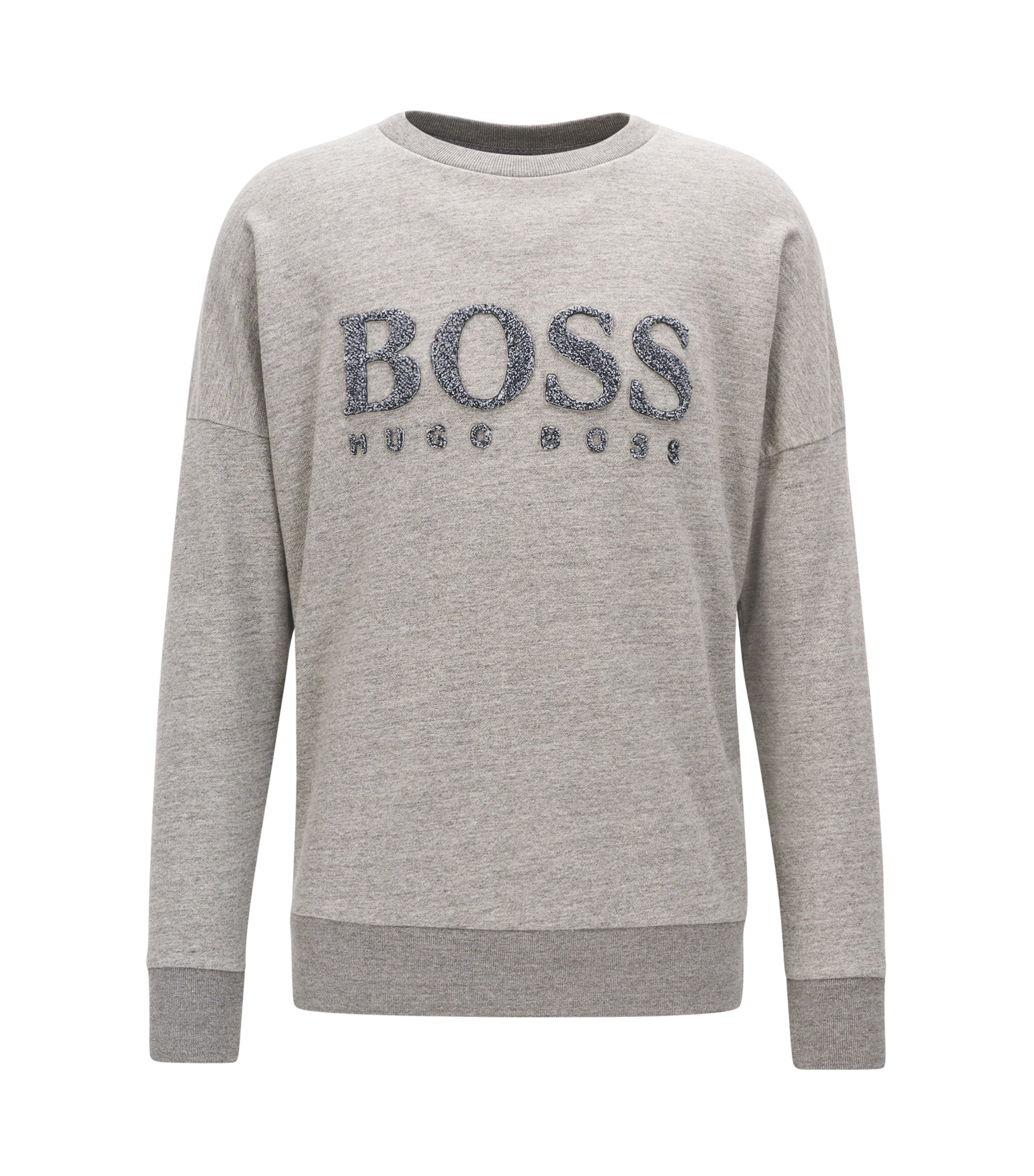 Sweat en coton molletonné French Terry avec logo, Gris chiné