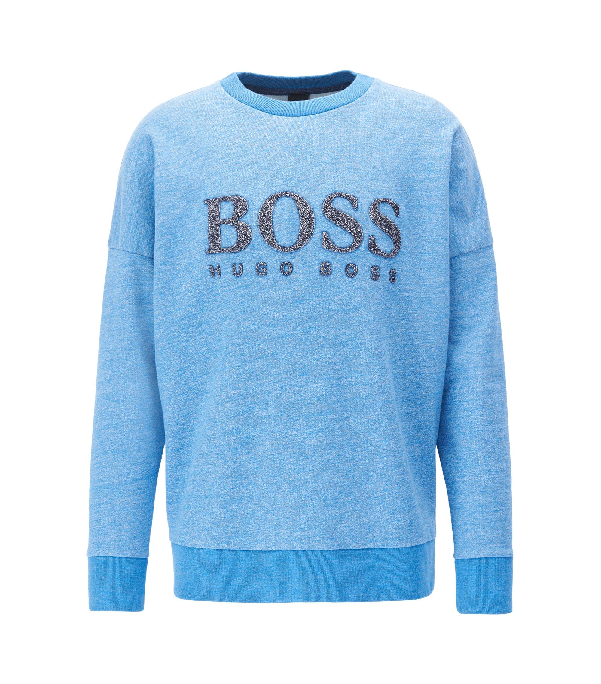 Sweat en coton molletonné French Terry avec logo, Bleu vif