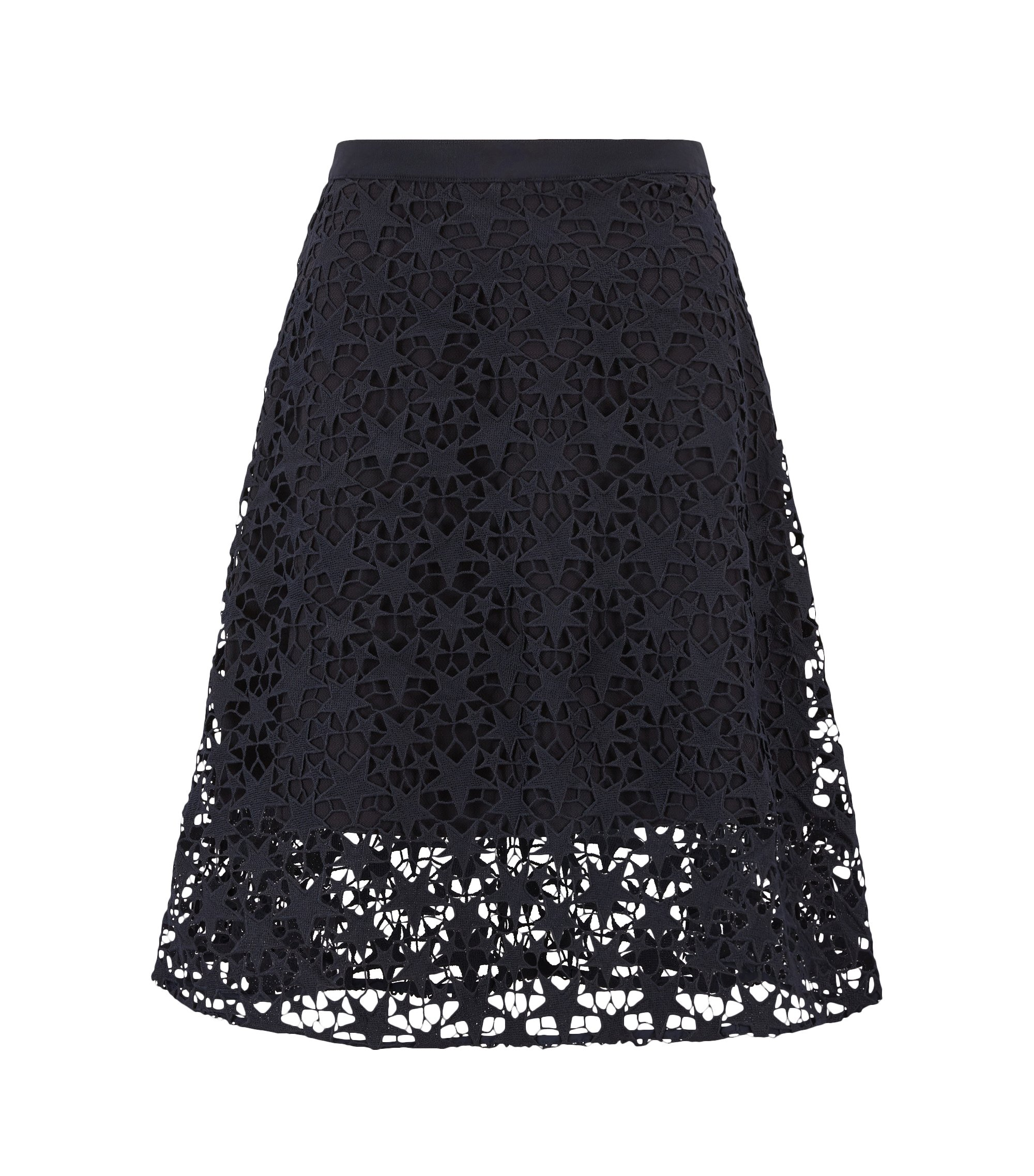 Layered A-line midi skirt in star lace, Dark Blue