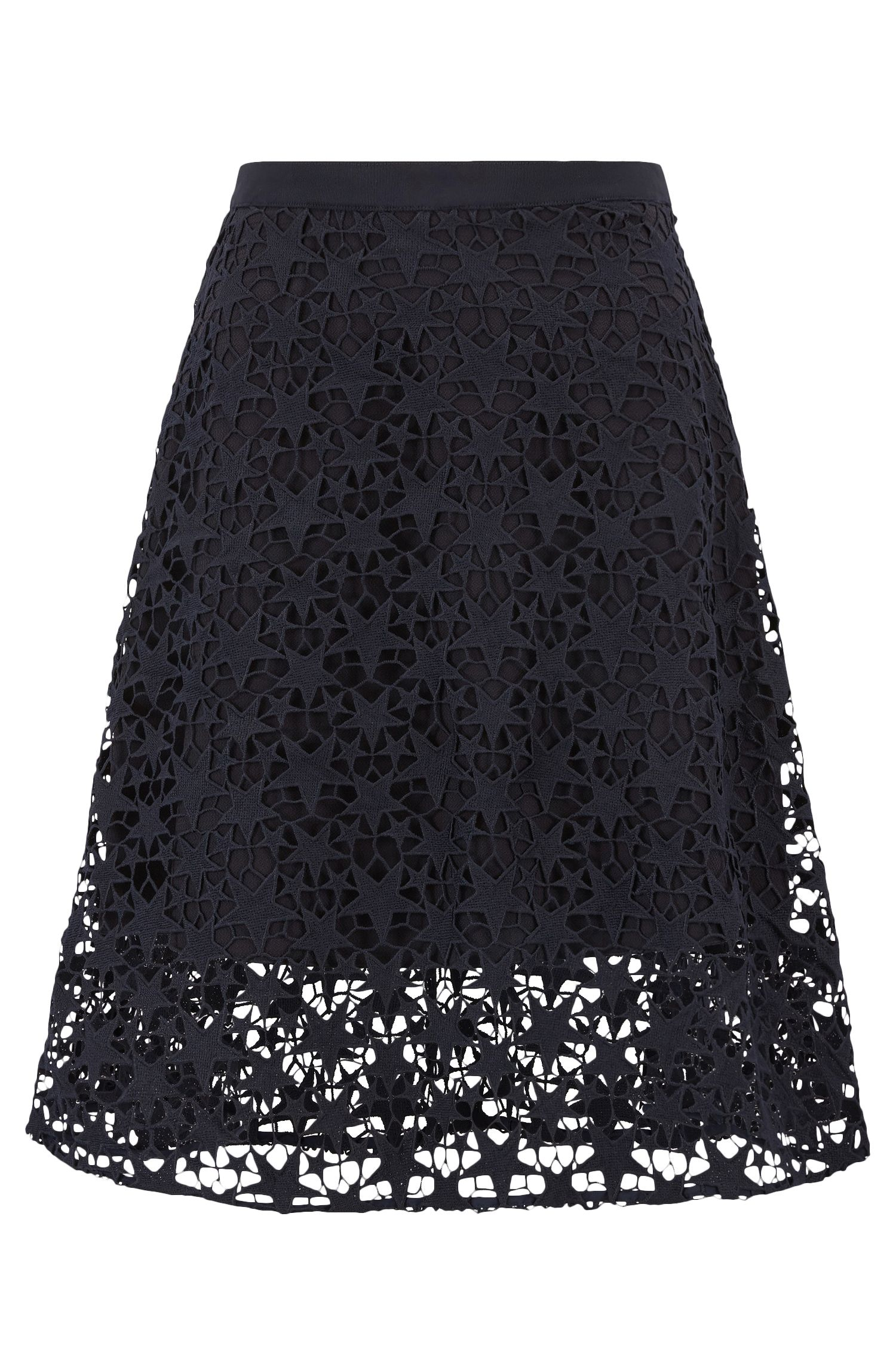 Layered A-line midi skirt in star lace