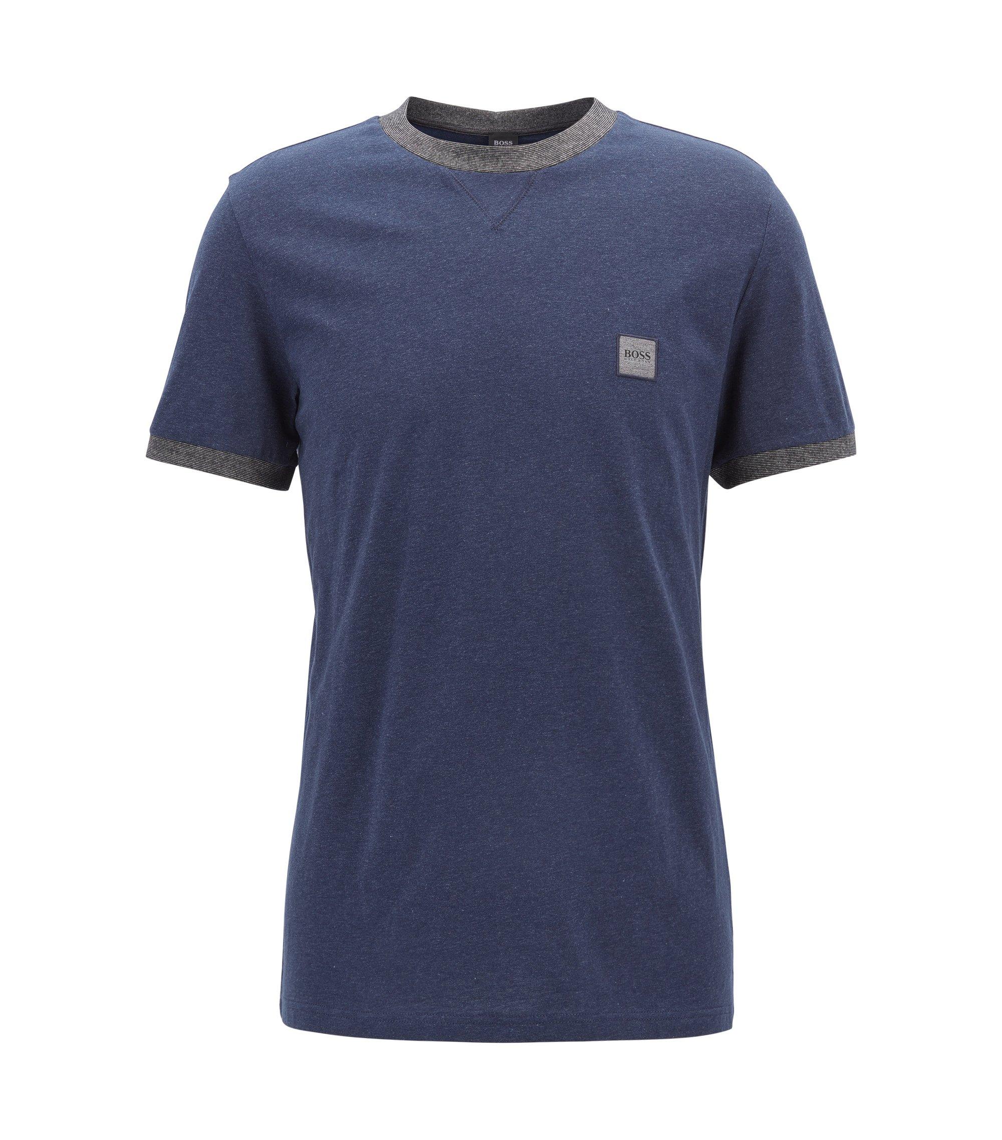 Katoenen T-shirt in een relaxed-fit, Donkerblauw