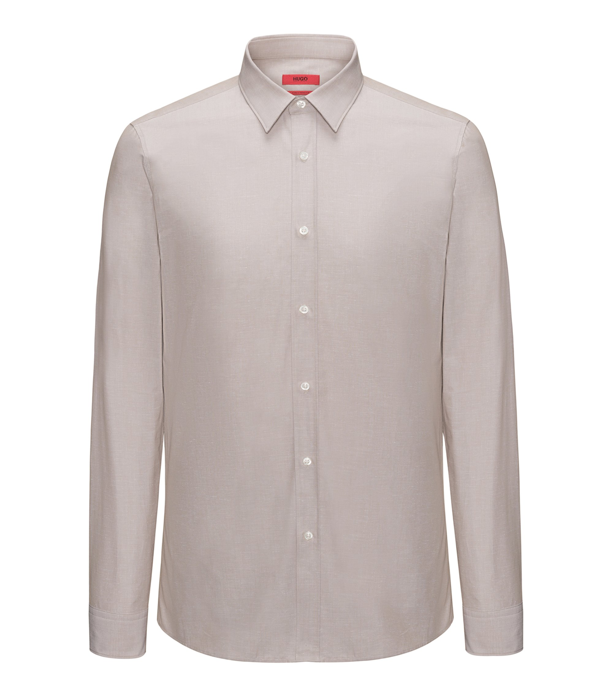 Extra-slim-fit shirt in a cotton blend, Light Beige