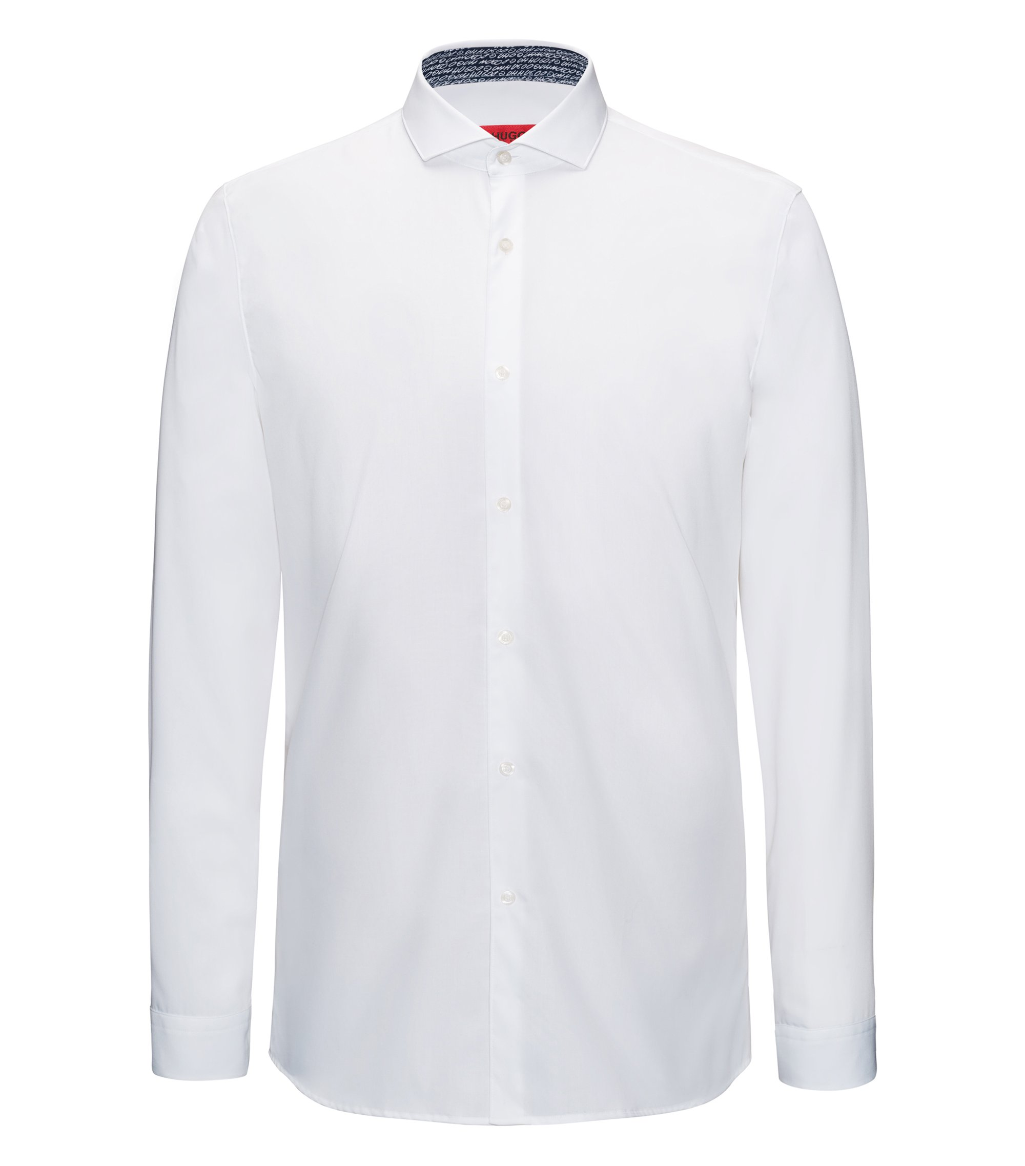 Extra-slim-fit cotton shirt with internal print details, White