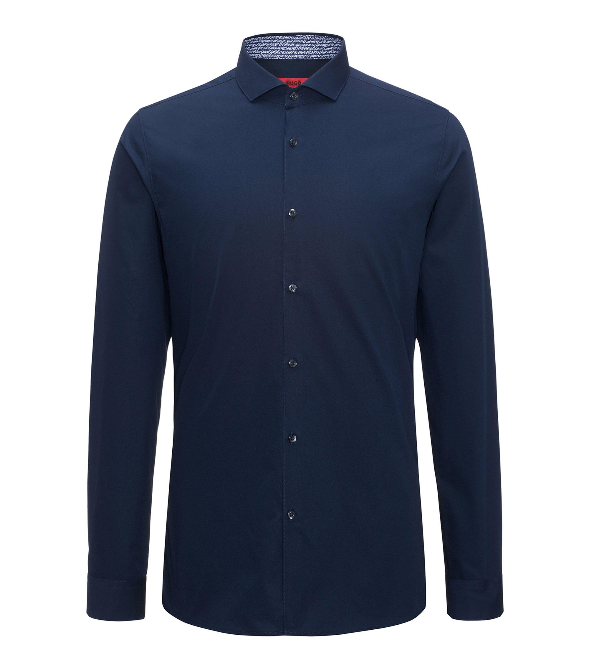 Camisa extra slim fit en algodón con detalles estampados en el interior, Azul oscuro