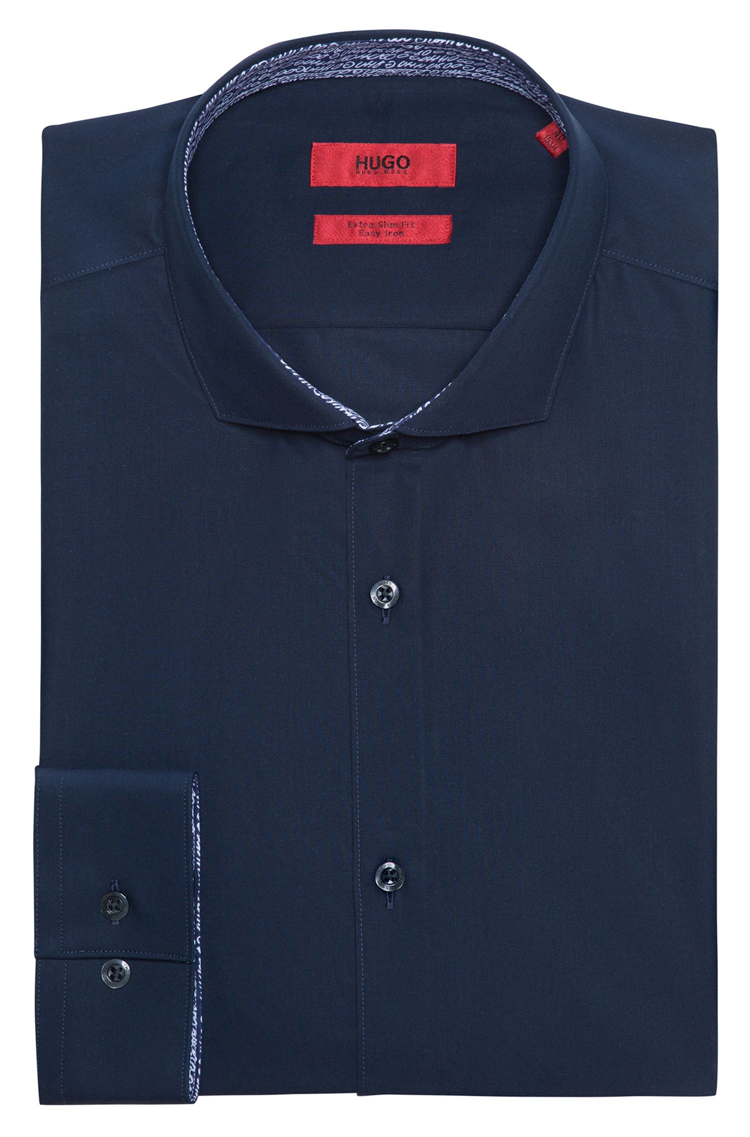 Camisa extra slim fit en algodón con detalles estampados en el interior