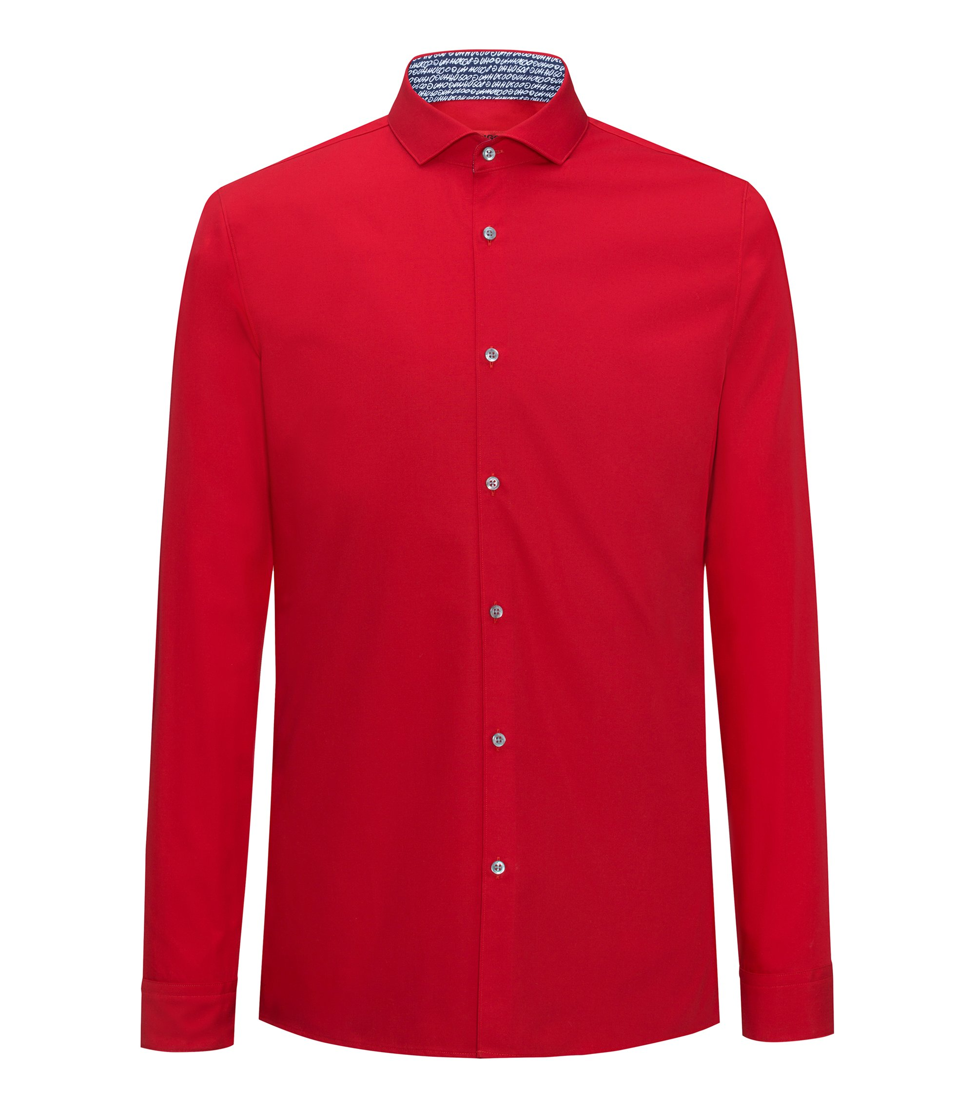 Extra-slim-fit cotton shirt with internal print details, Red