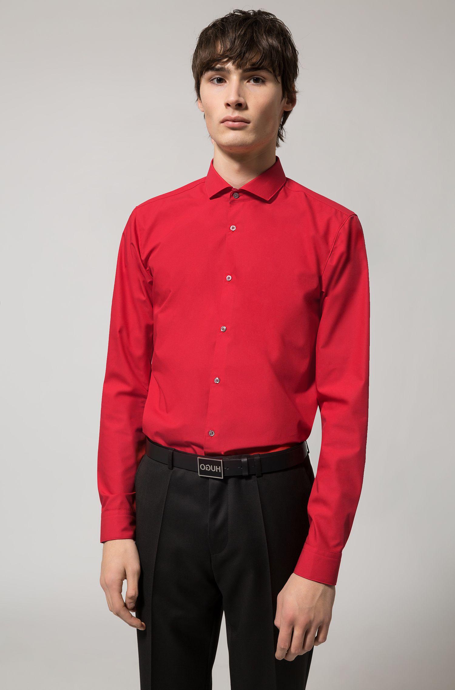 Extra slim-fit overhemd van katoen met printdetails aan de binnenzijde